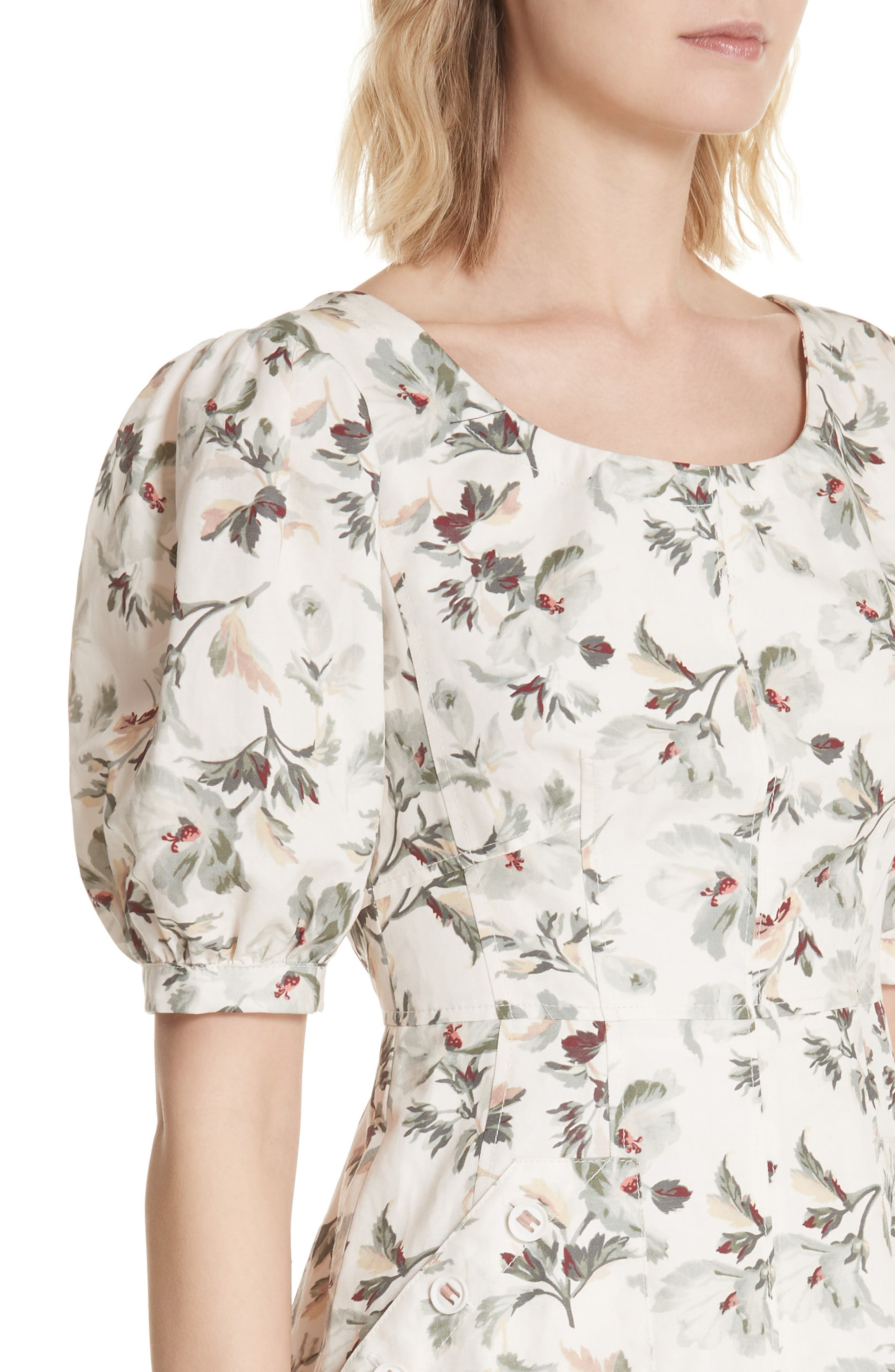 Puff Sleeve Floral Cotton Linen Dress,                             Alternate thumbnail 4, color,                             VANILLA COMBO