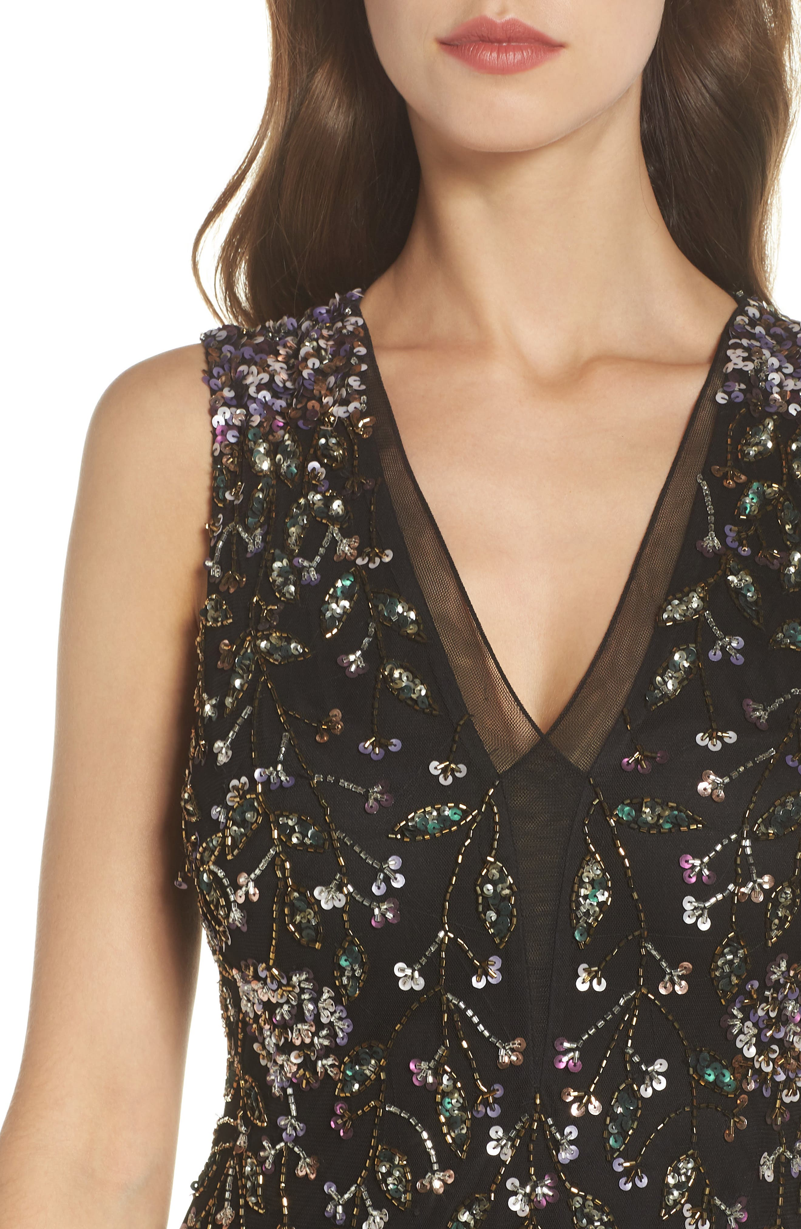 Beaded Gown,                             Alternate thumbnail 4, color,                             BLACK MULTI