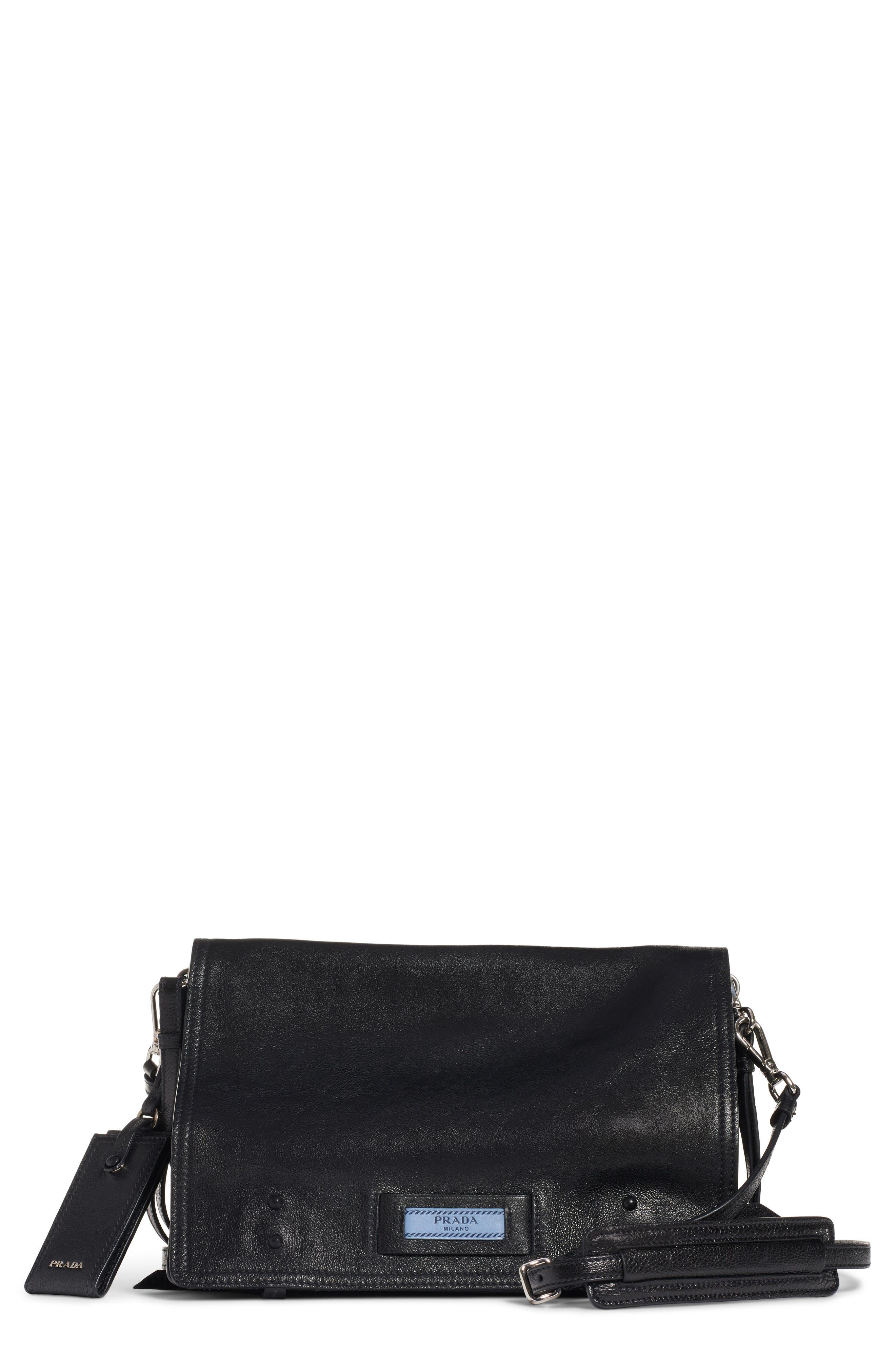 PRADA,                             Medium Etiquette Shoulder Bag,                             Main thumbnail 1, color,                             NERO/ ASTRALE
