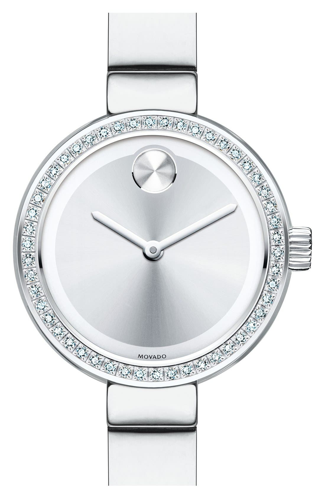 Bold Diamond Bezel Bangle Watch, 25mm,                             Main thumbnail 1, color,