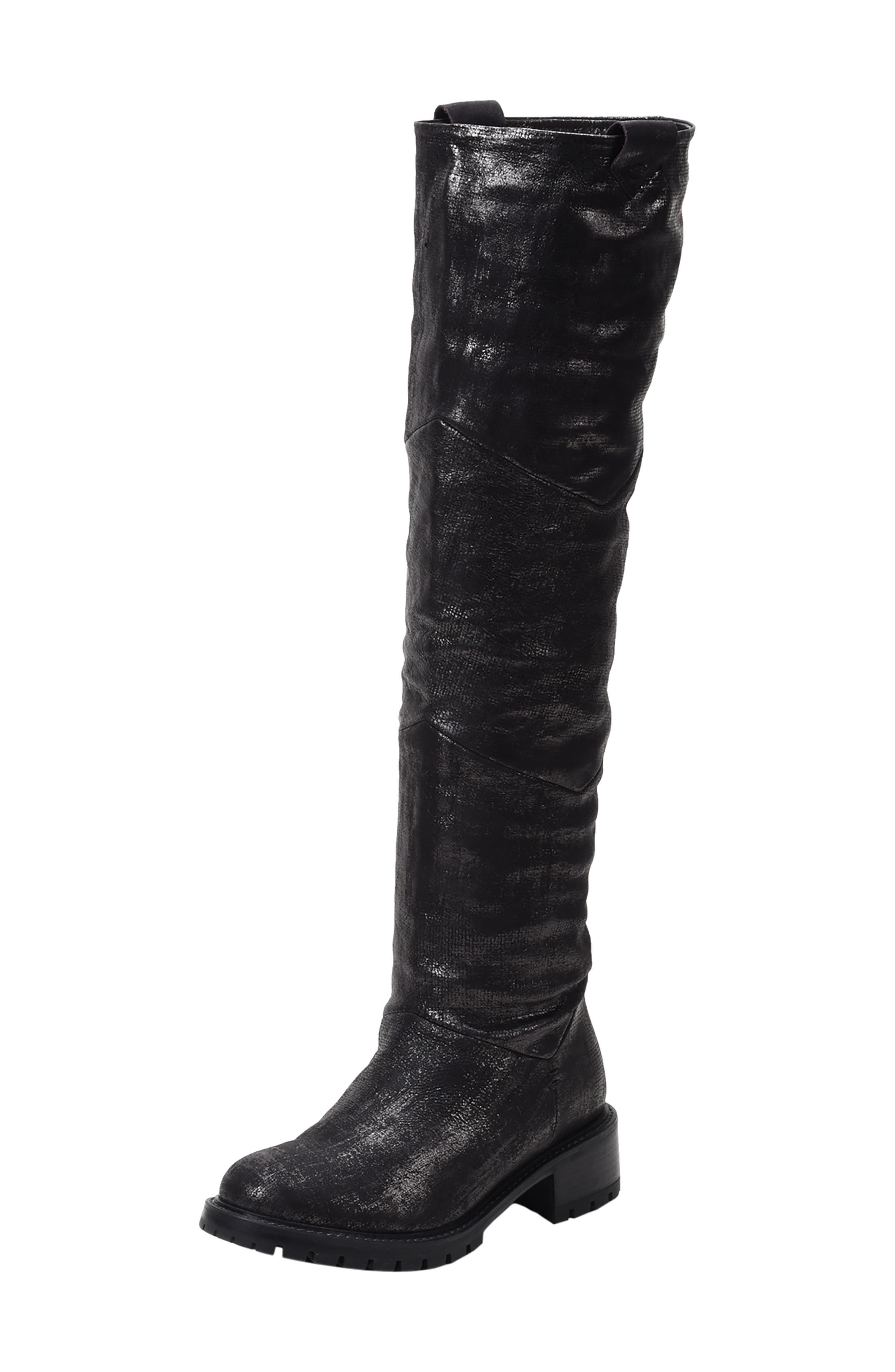 Elena Waterproof Genuine Shearling Lined Knee High Boot,                             Main thumbnail 1, color,                             BLACK/ SILVER LEATHER
