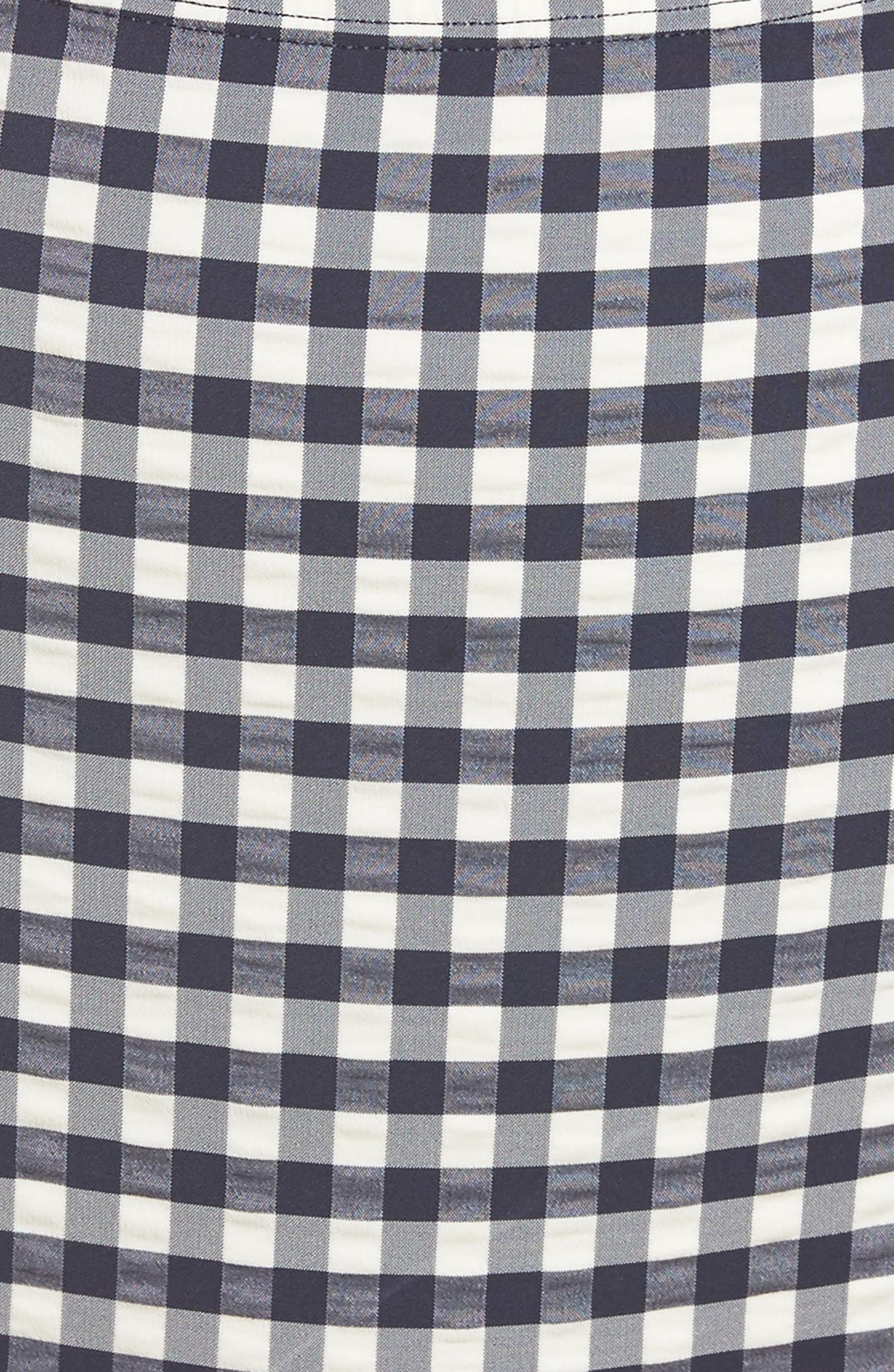 Gingham High Waist Bikini Bottoms,                             Alternate thumbnail 5, color,                             TORY NAVY / WHITE