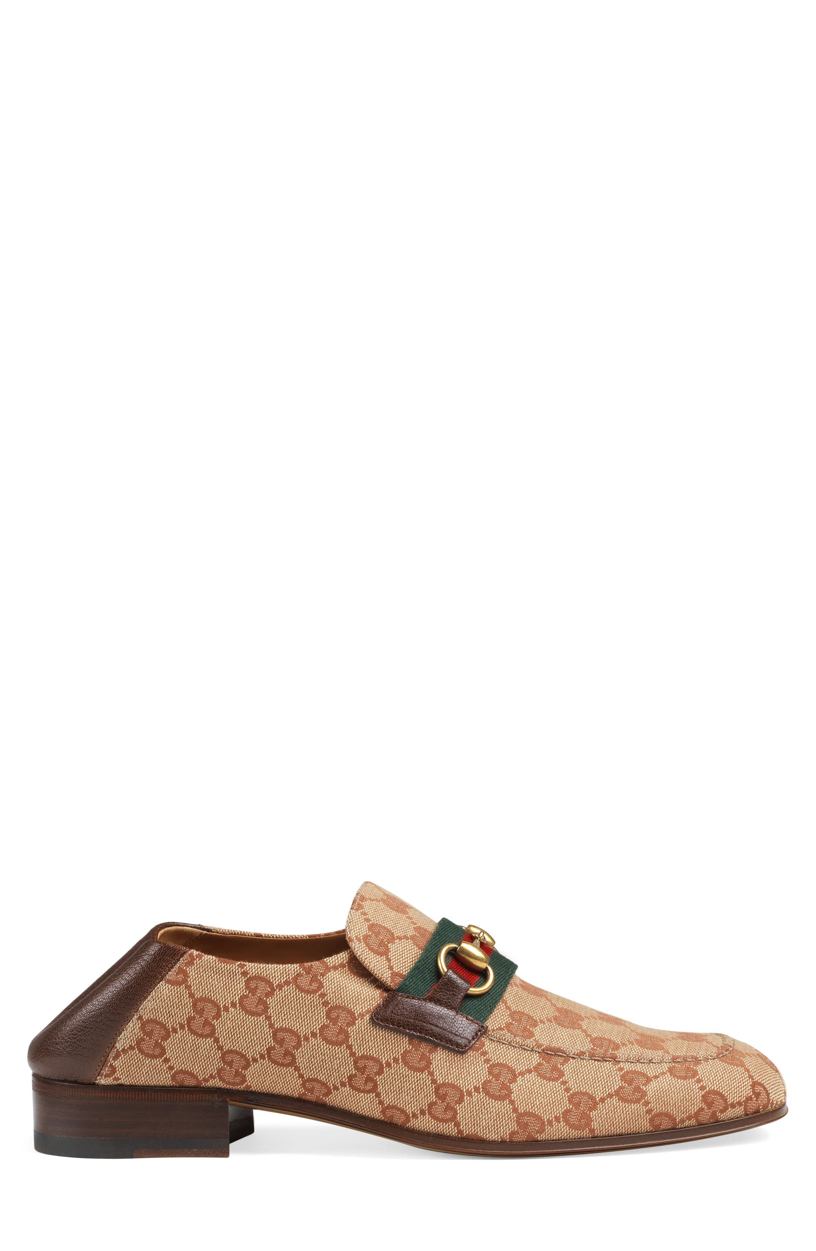 GUCCI,                             Horsebit Collapsible Leather Loafer,                             Alternate thumbnail 2, color,                             BEIGE/ ROSE