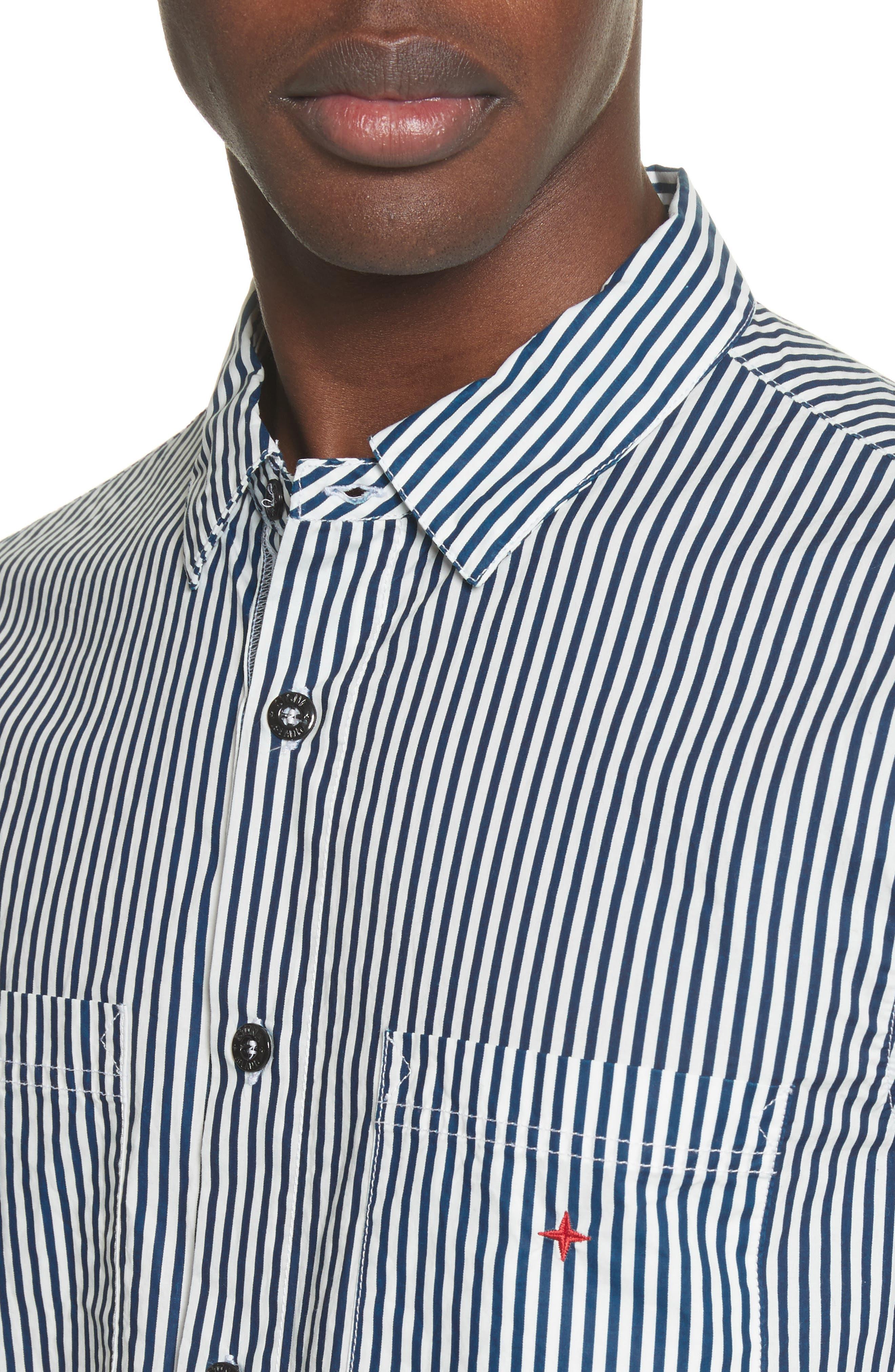 STONE ISLAND,                             Stripe Woven Shirt,                             Alternate thumbnail 4, color,                             100