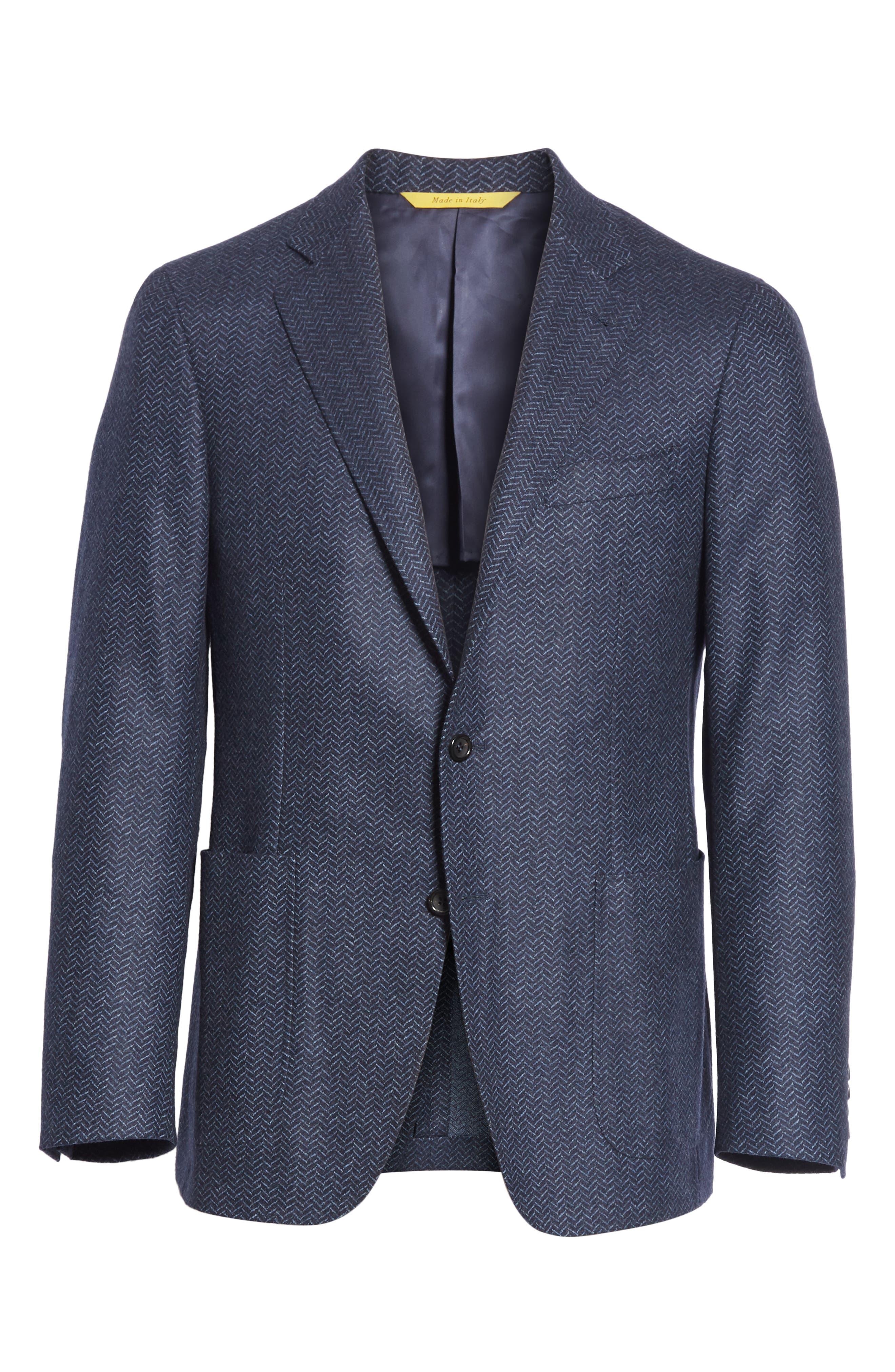 Classic Fit Herringbone Wool Sport Coat,                             Alternate thumbnail 5, color,                             DARK BLUE