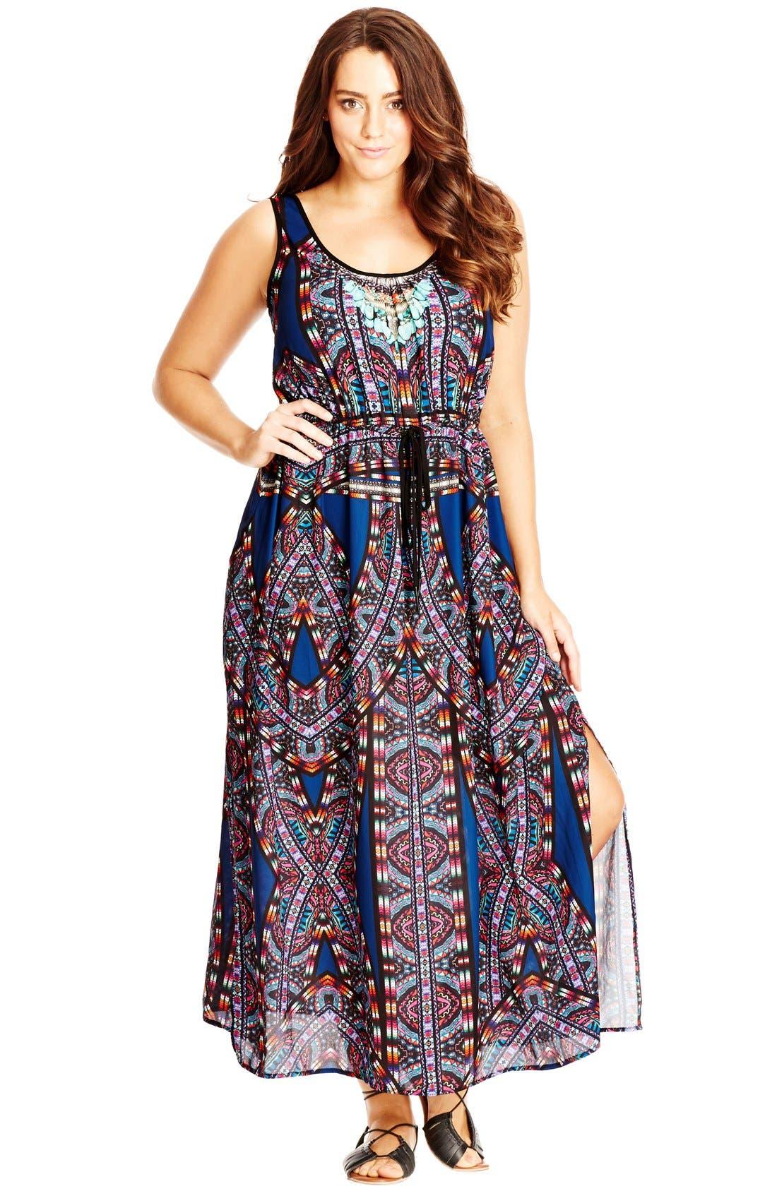 'Biba' Drawstring Maxi Dress,                             Alternate thumbnail 8, color,
