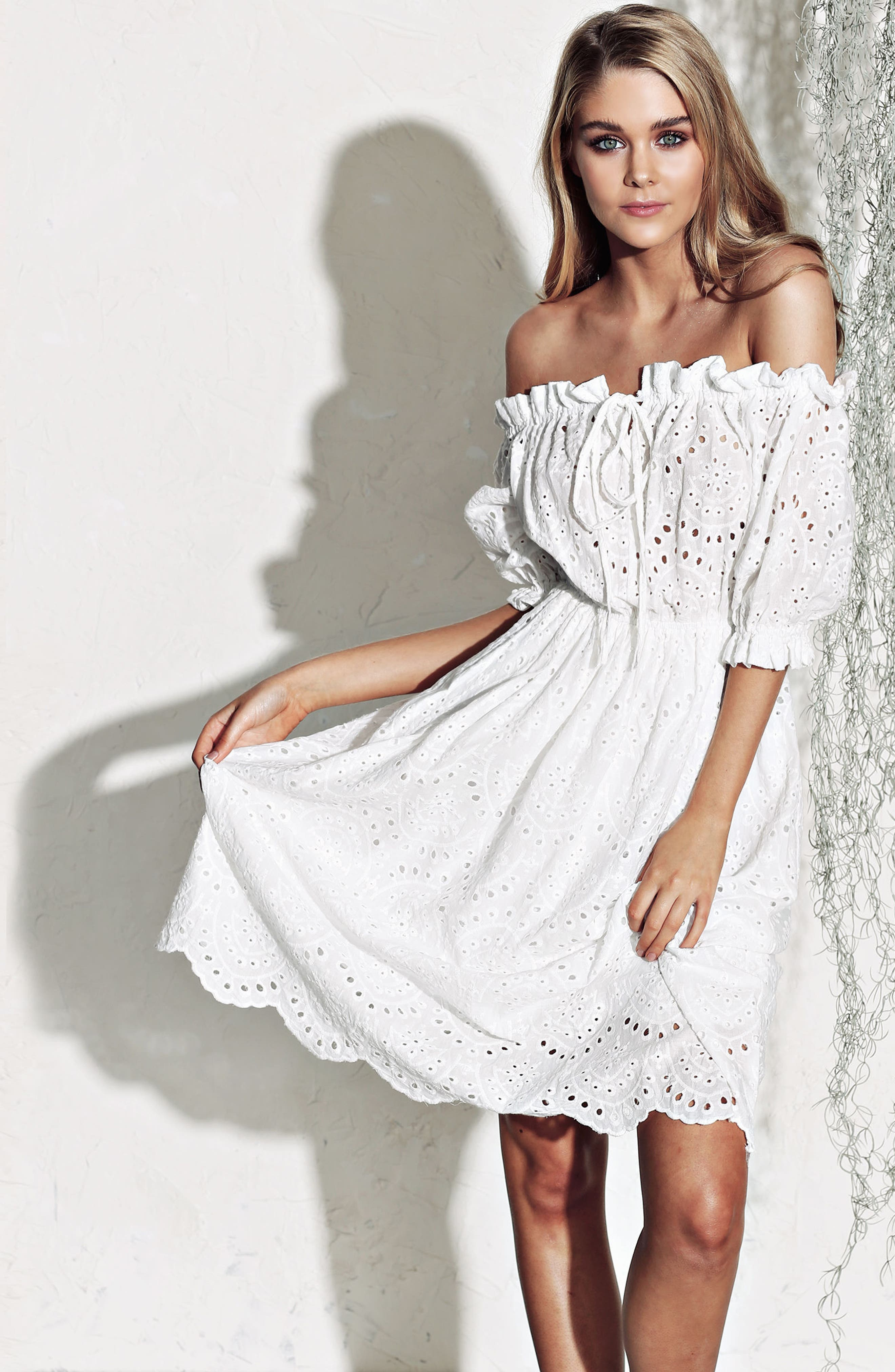 The White Party Off the Shoulder Dress,                             Alternate thumbnail 8, color,                             100