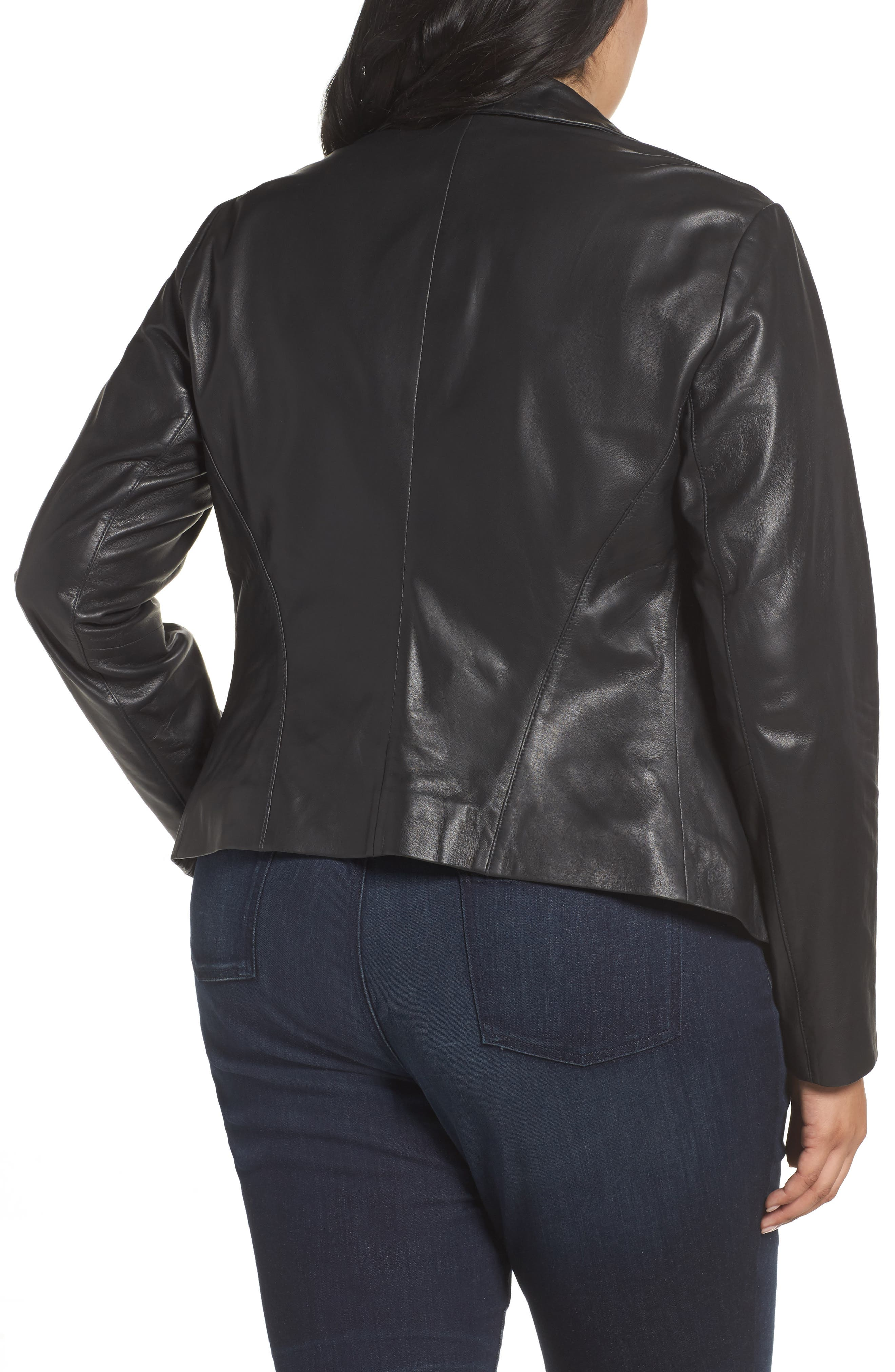 Leather Blazer,                             Alternate thumbnail 2, color,                             001