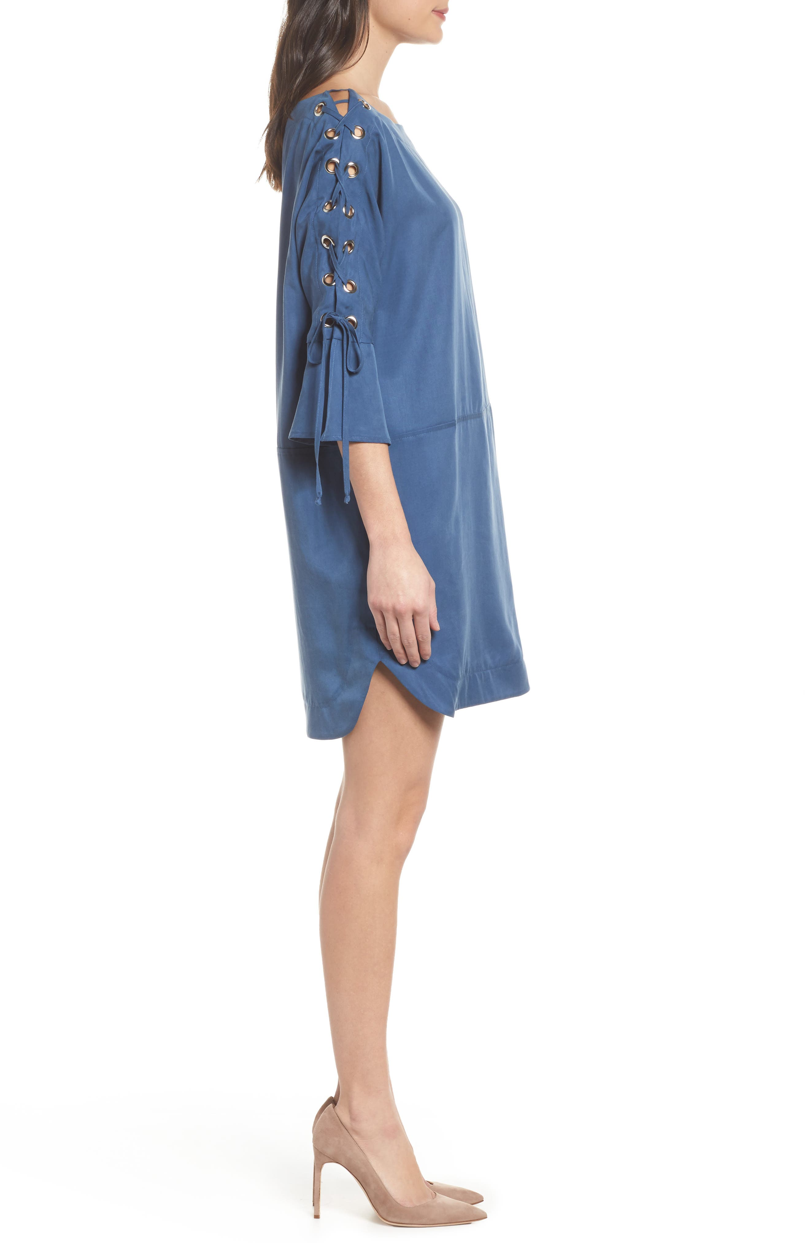 Lace-Up Shift Dress,                             Alternate thumbnail 3, color,