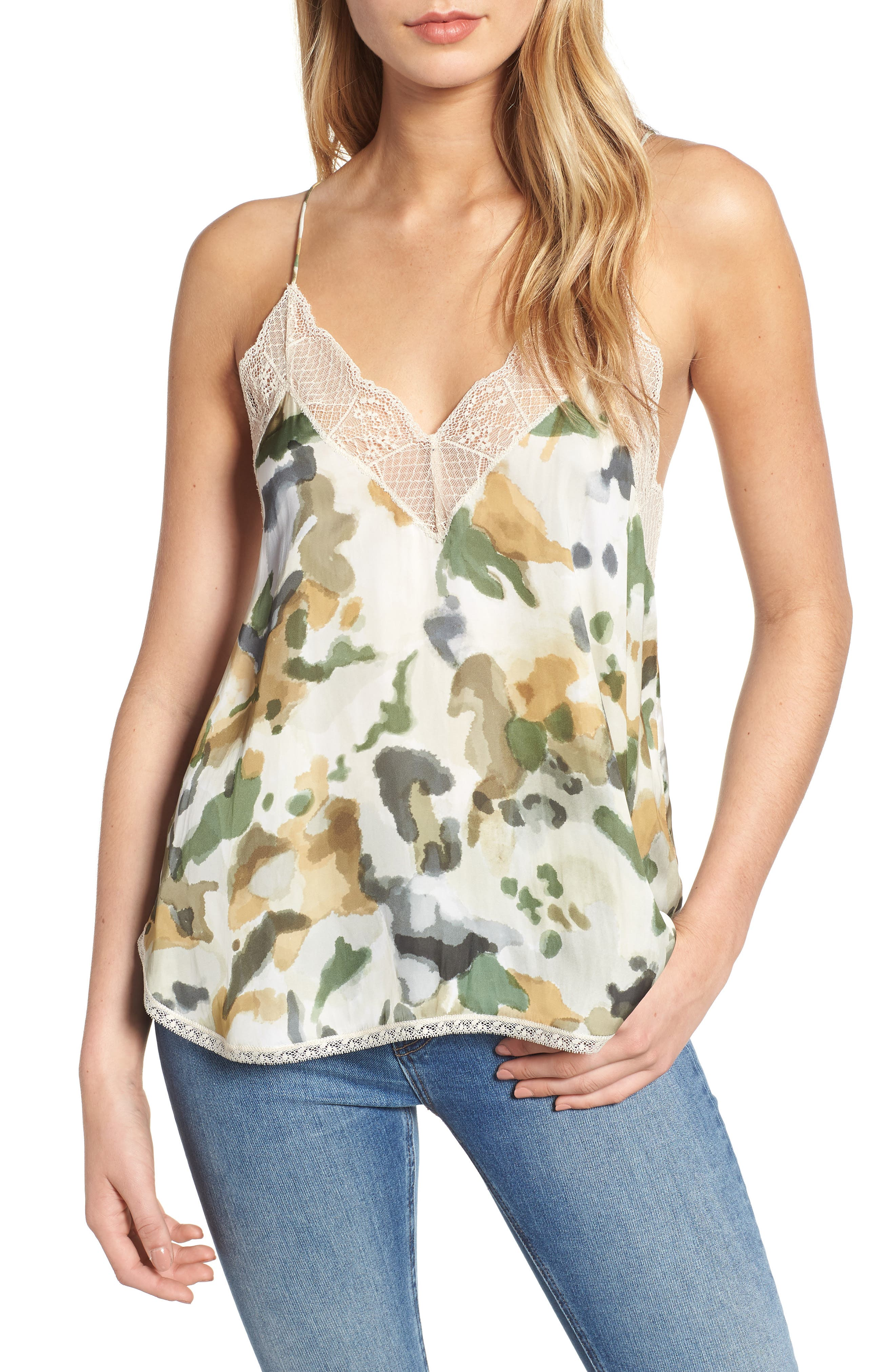 Christy Camouflage Camisole,                             Main thumbnail 1, color,                             BEIGE