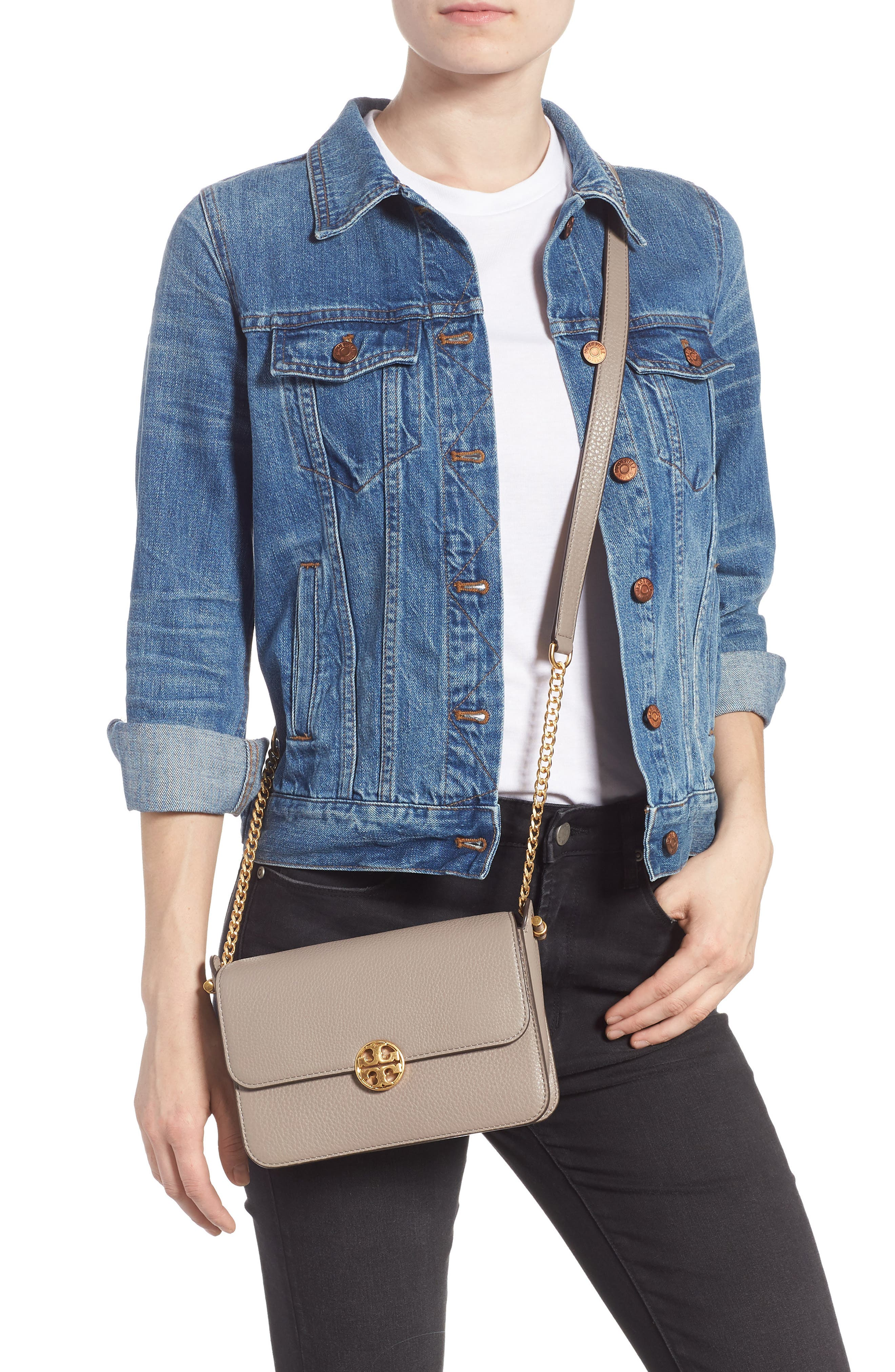 Chelsea Leather Crossbody Bag,                             Alternate thumbnail 2, color,                             GRAY HERON