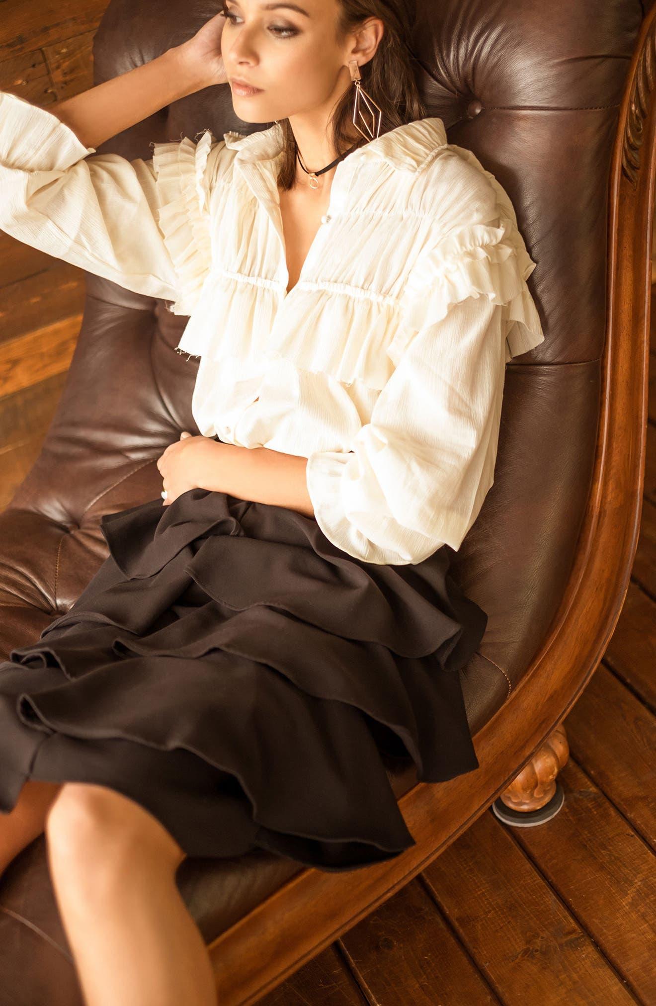 Tiered Ruffle Midi Skirt,                             Alternate thumbnail 7, color,                             001