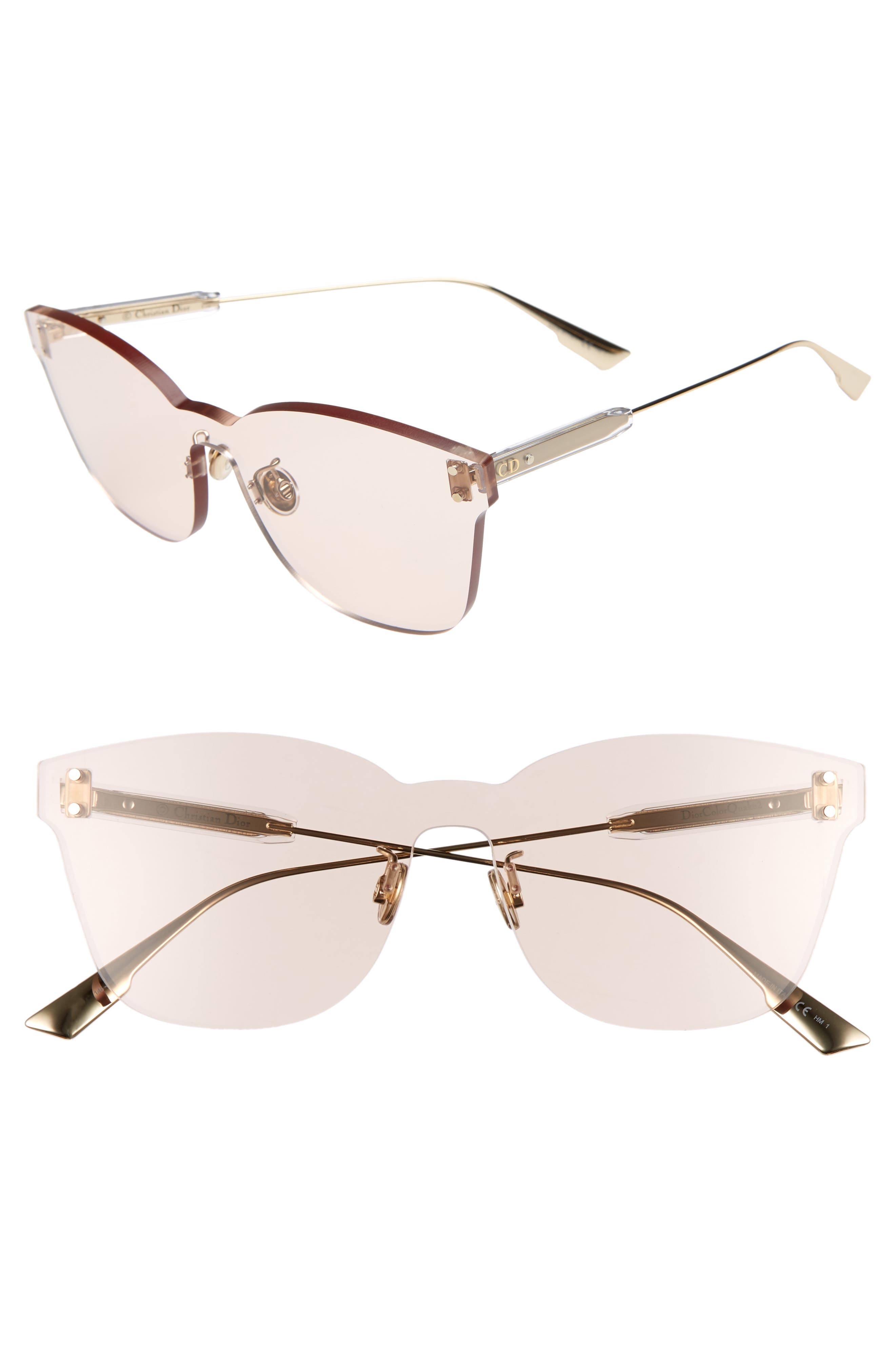 Christian Dior Quake2 135Mm Rimless Shield Sunglasses - Nude