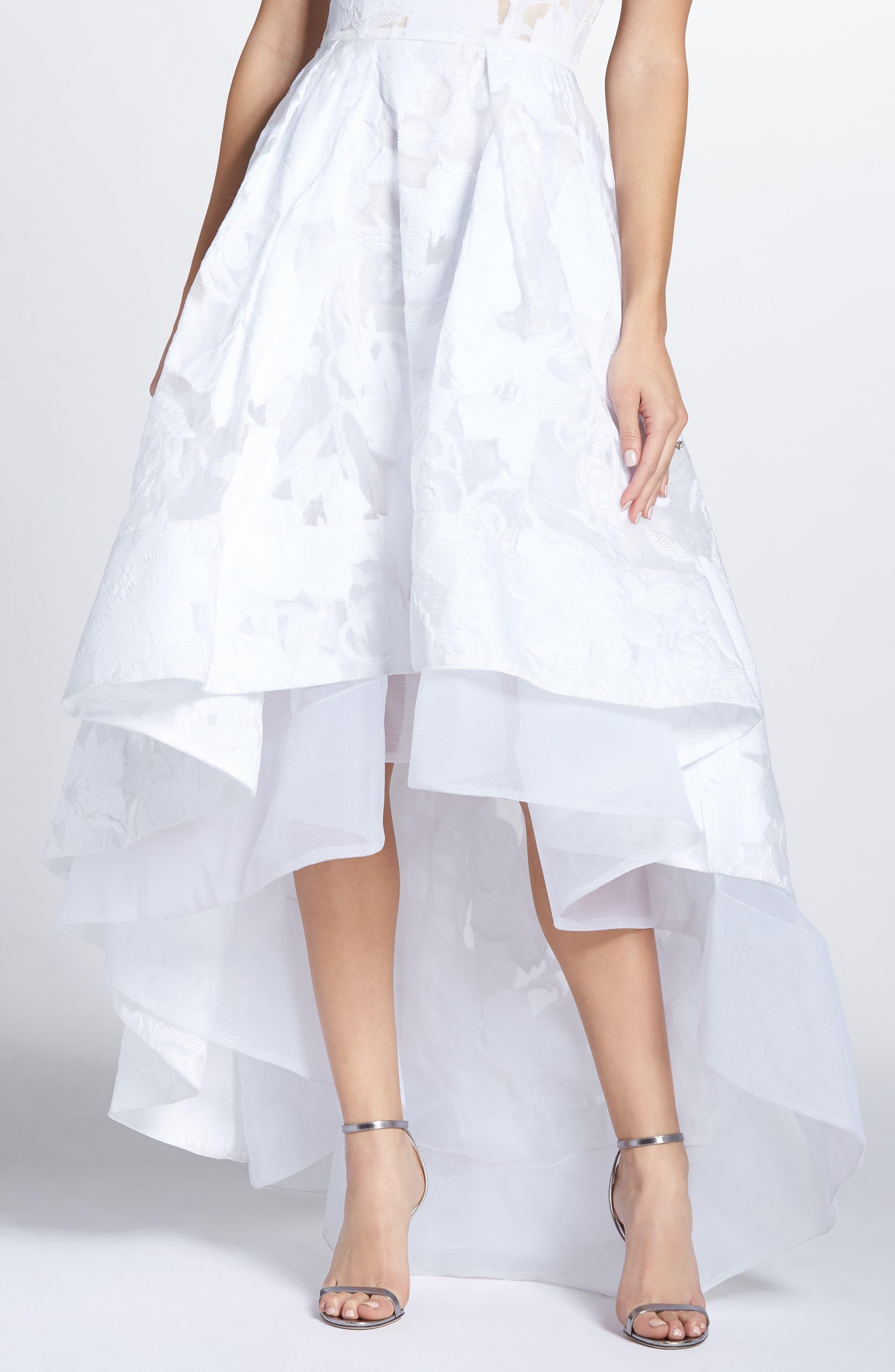 Boheme Floral High/Low Dress,                             Alternate thumbnail 4, color,                             WHITE