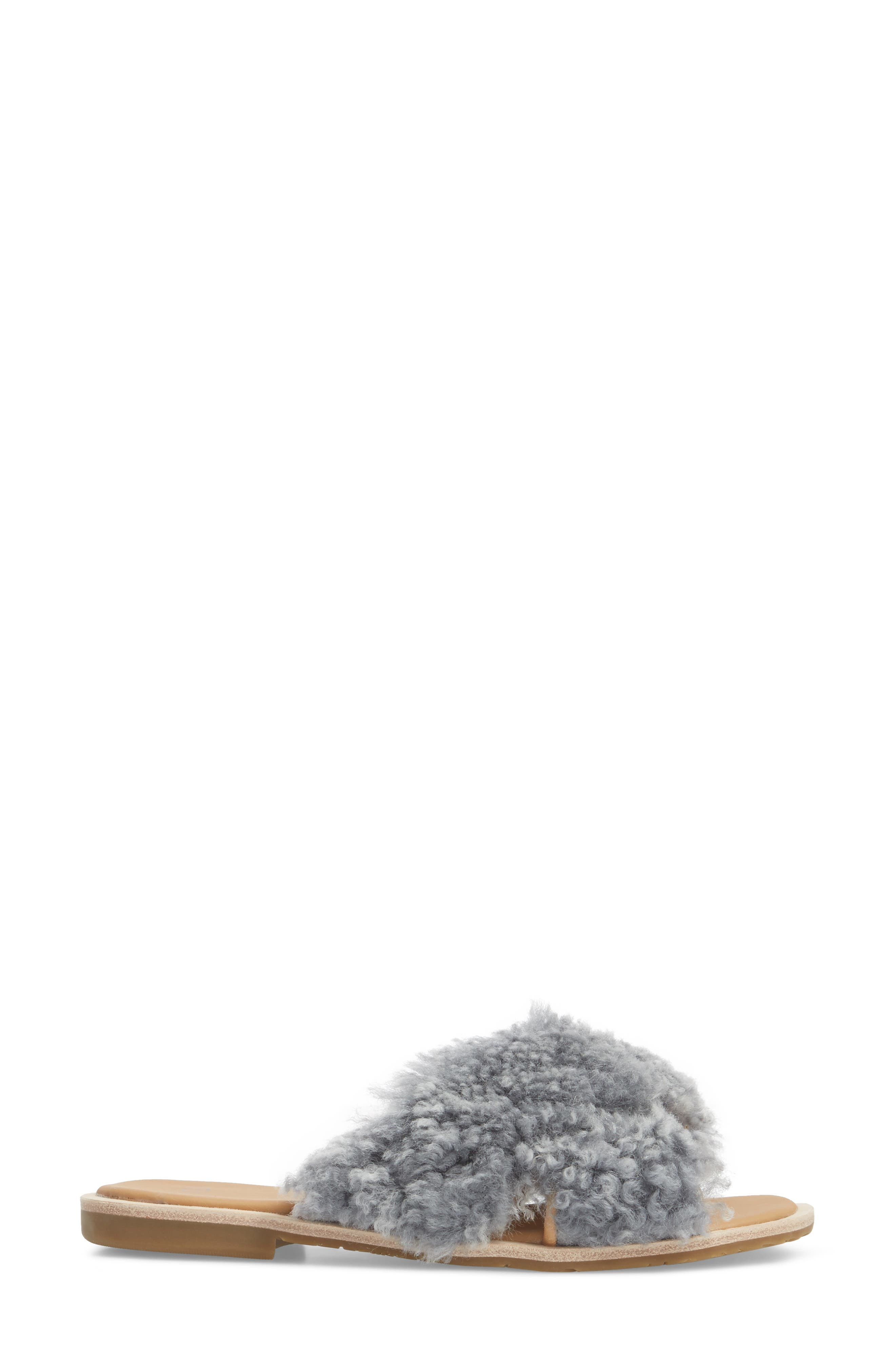 Joni Genuine Shearling Slide Sandal,                             Alternate thumbnail 3, color,                             LUDE GREY