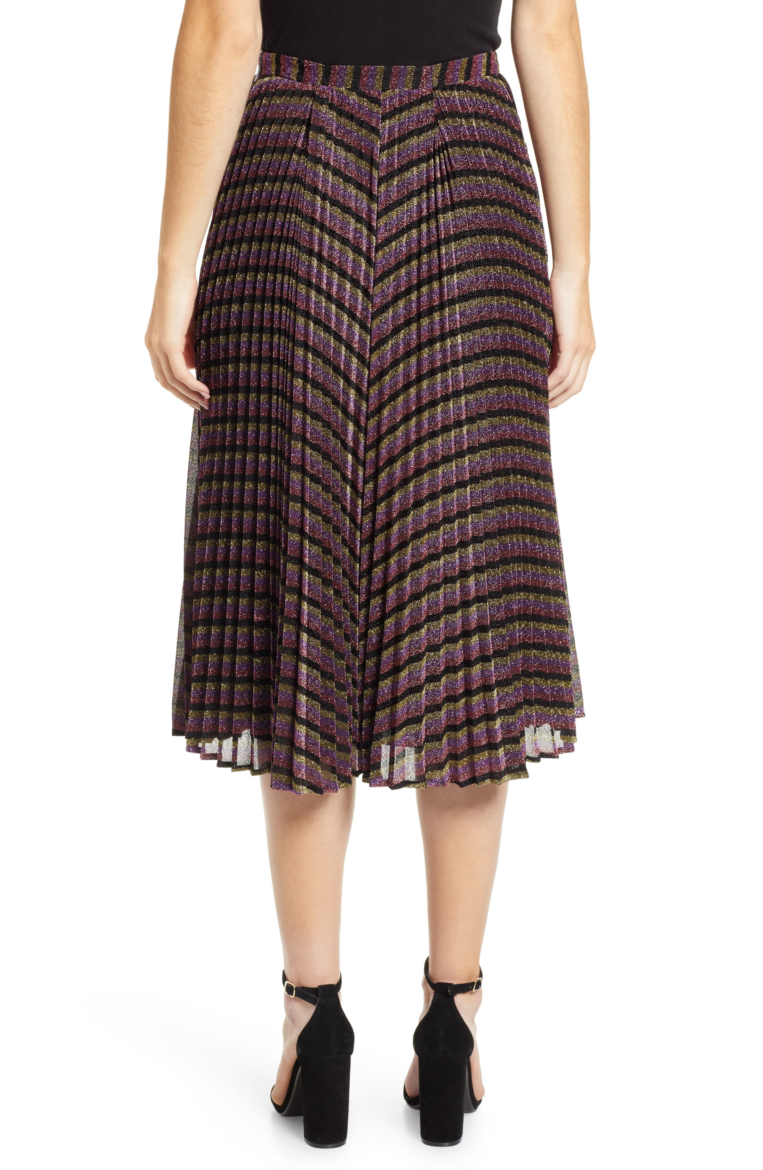 Sparkle Stripe Pleated Skirt,                             Alternate thumbnail 2, color,                             MULTICOLOUR