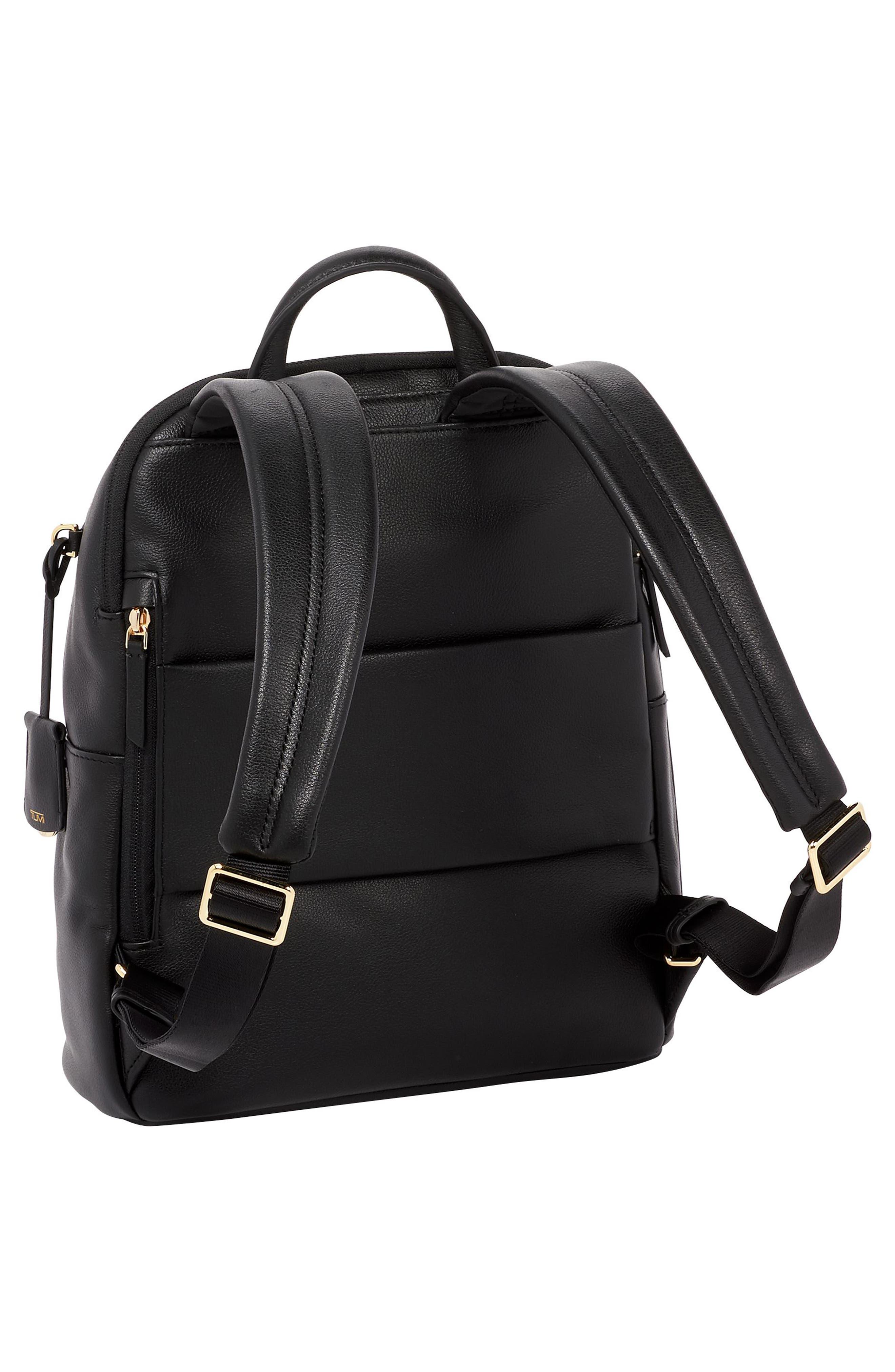 Voyageur - Dori Leather Backpack,                             Alternate thumbnail 3, color,                             BLACK