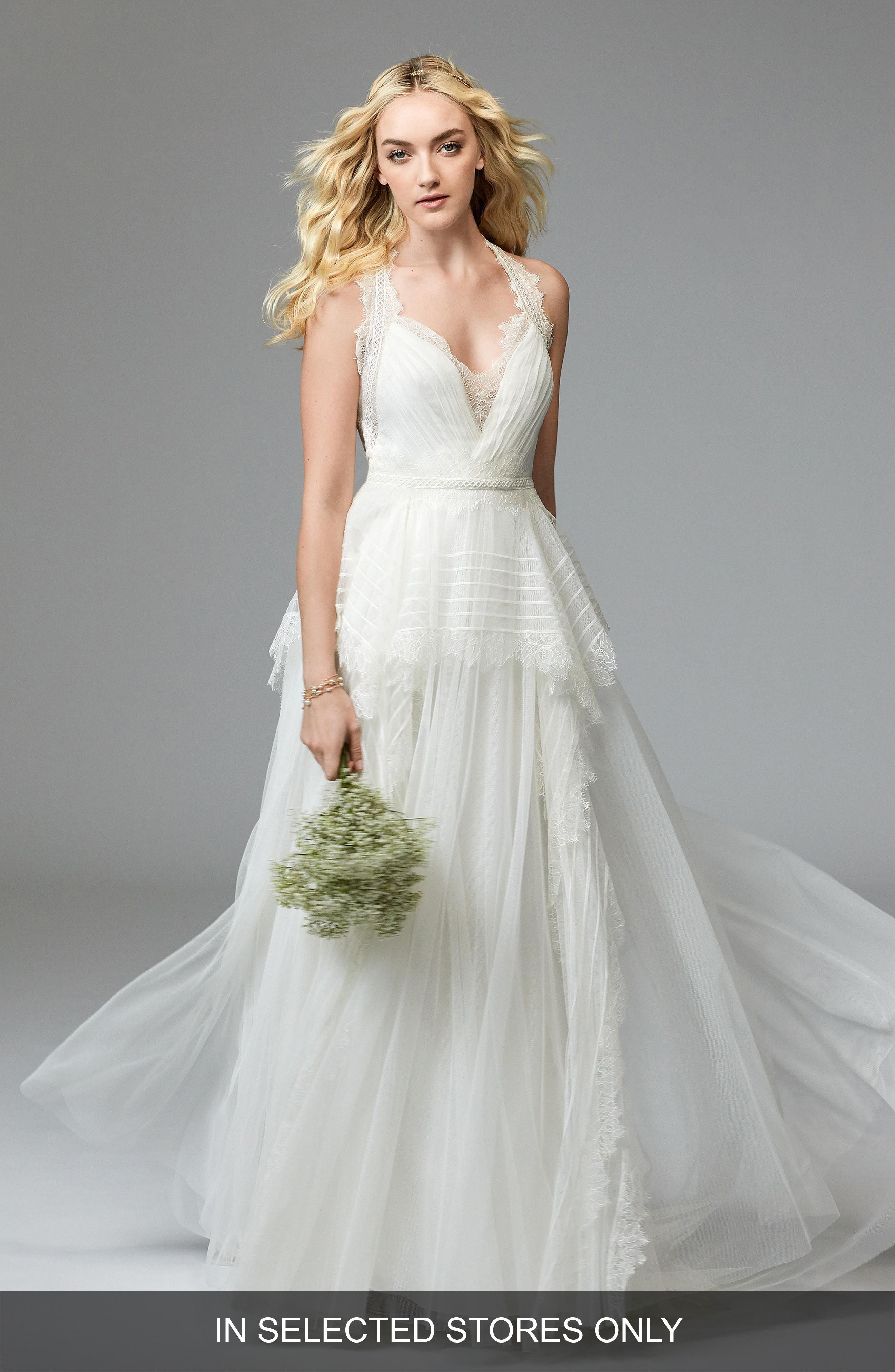 Jewel Lace & Net A-Line Gown,                         Main,                         color, IVORY