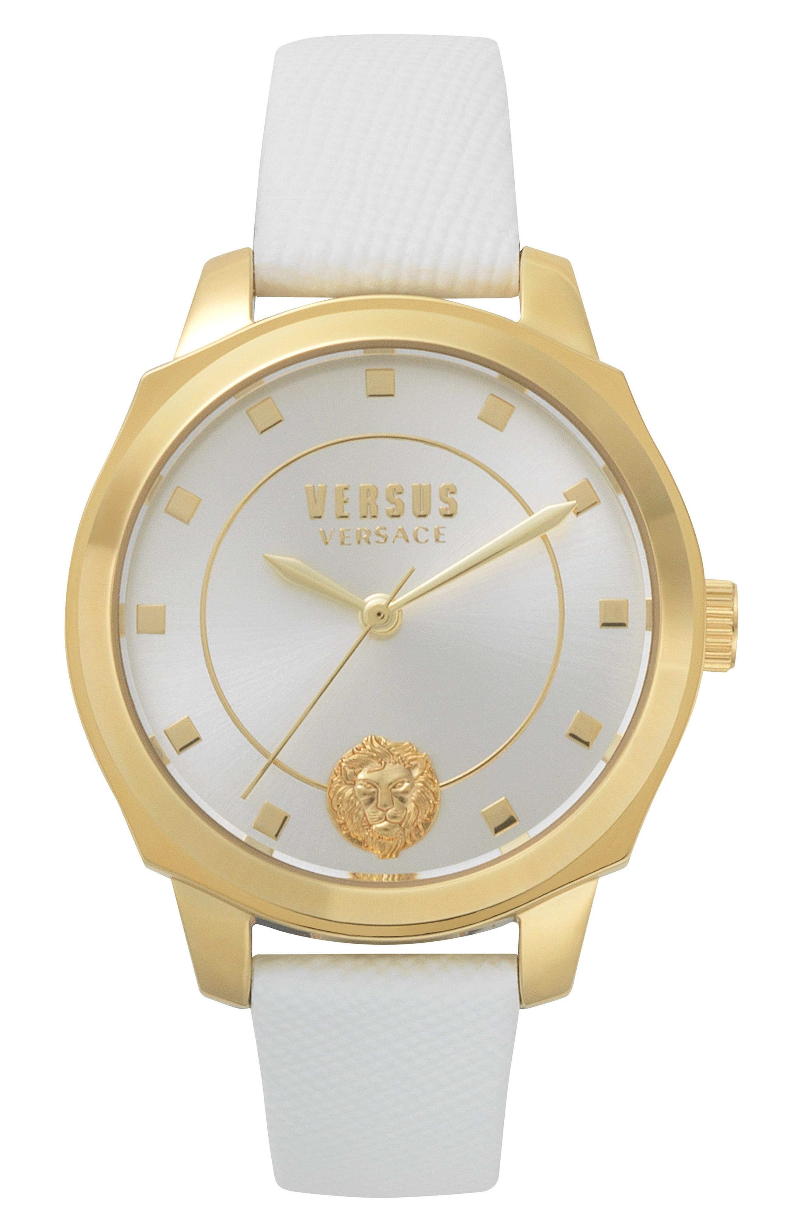 Chelsea Leather Strap Watch, 34mm,                         Main,                         color, WHITE/ SILVER/ GOLD