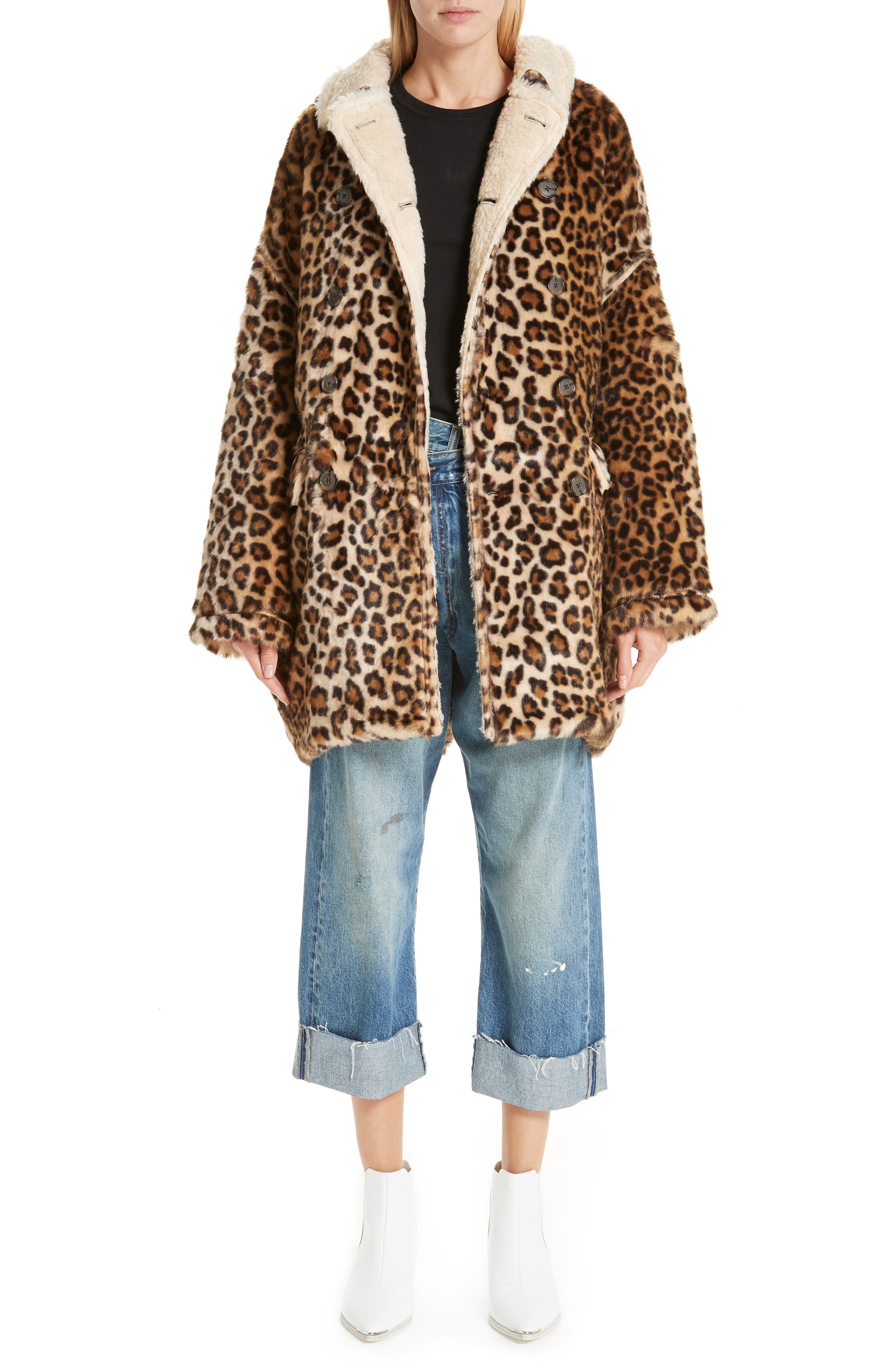 R13,                             Oversize Faux Leopard Hunting Coat,                             Alternate thumbnail 7, color,                             242