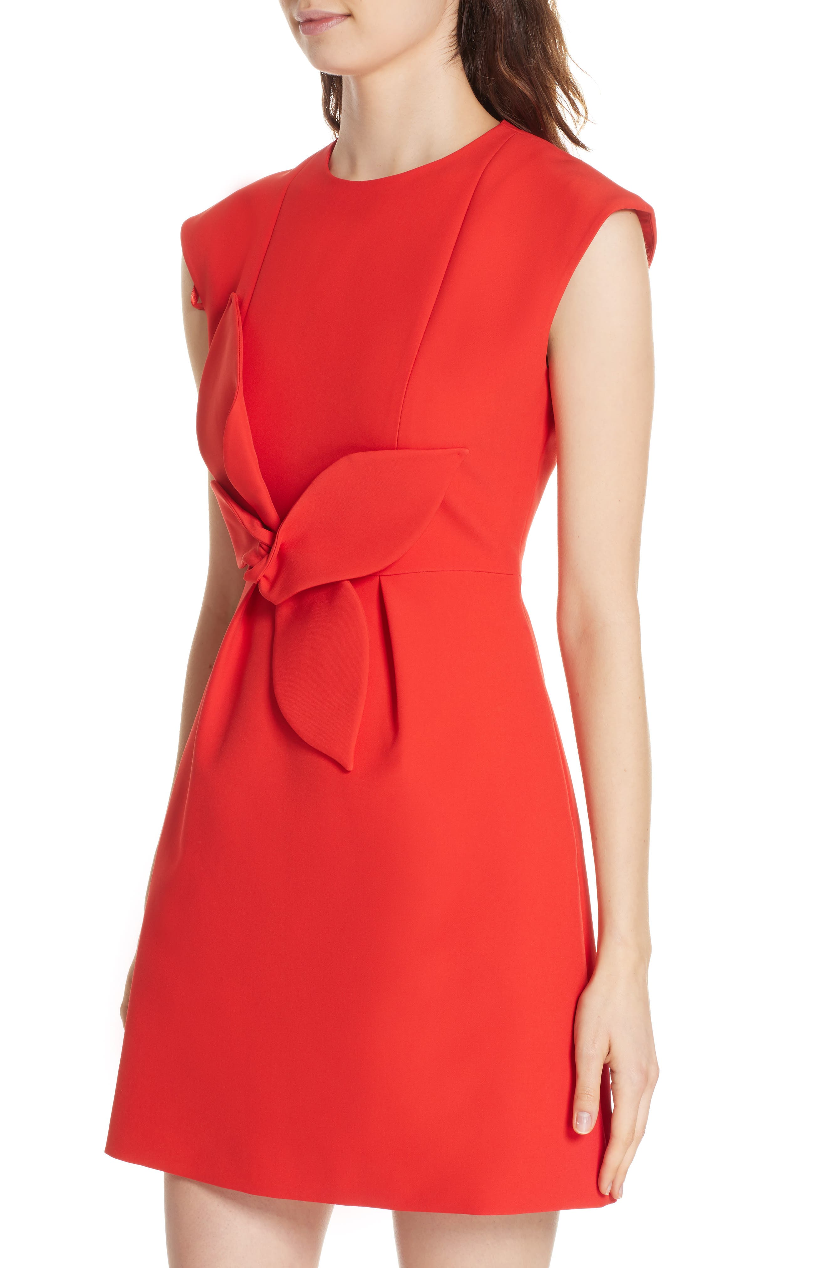 Polly Structured Bow Dress,                             Alternate thumbnail 4, color,                             MID RED