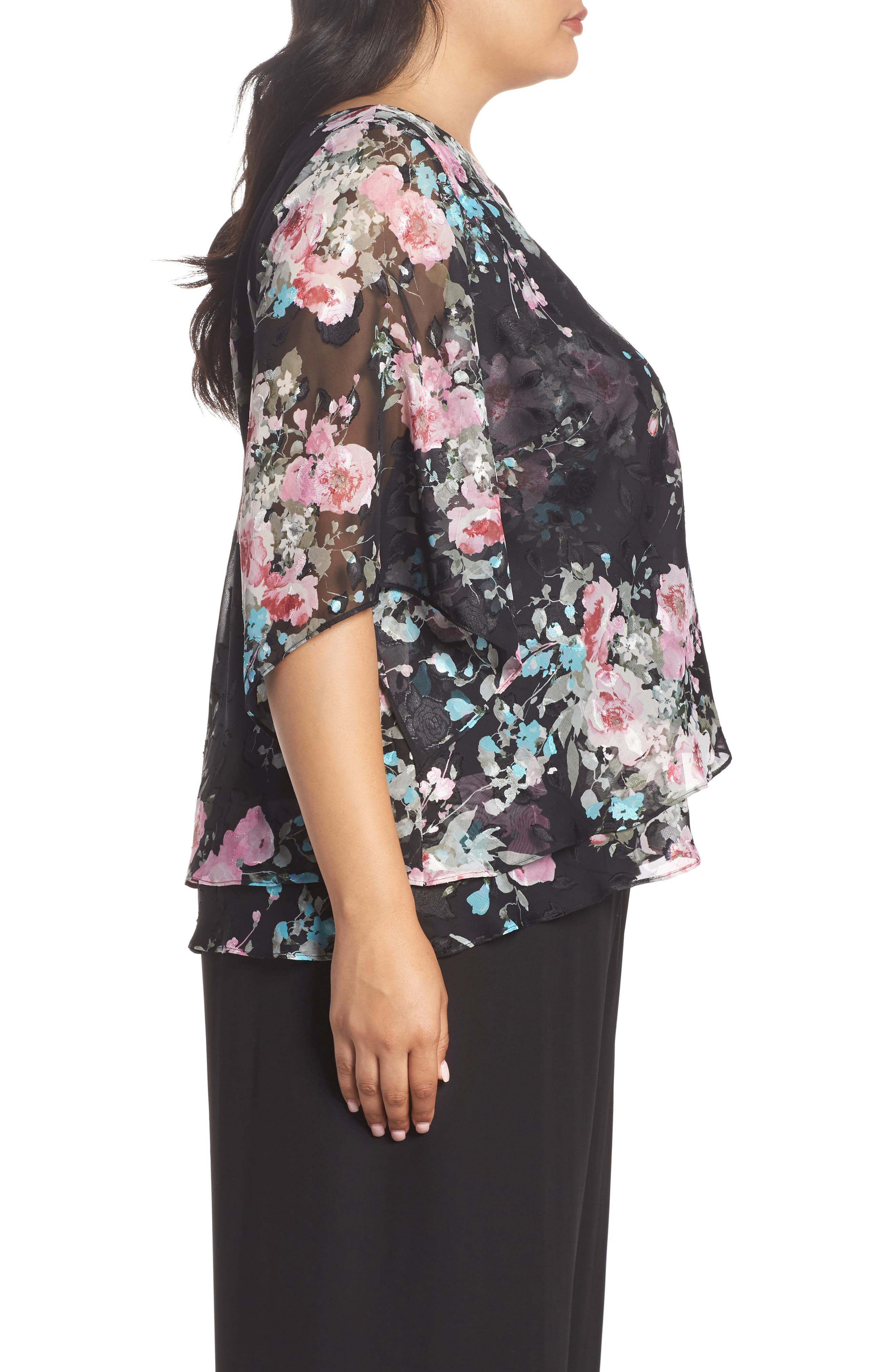 ALEX EVENINGS,                             Burnout Floral Blouse,                             Alternate thumbnail 3, color,                             015