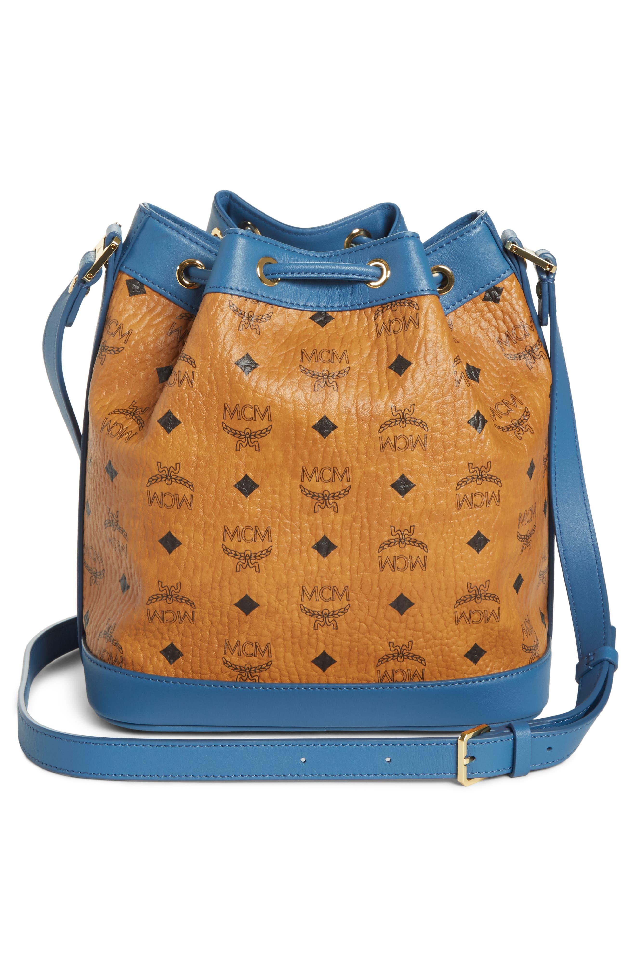 Small Visetos Drawstring Crossbody Bag,                             Alternate thumbnail 3, color,                             COGNAC/ SLATE BLUE
