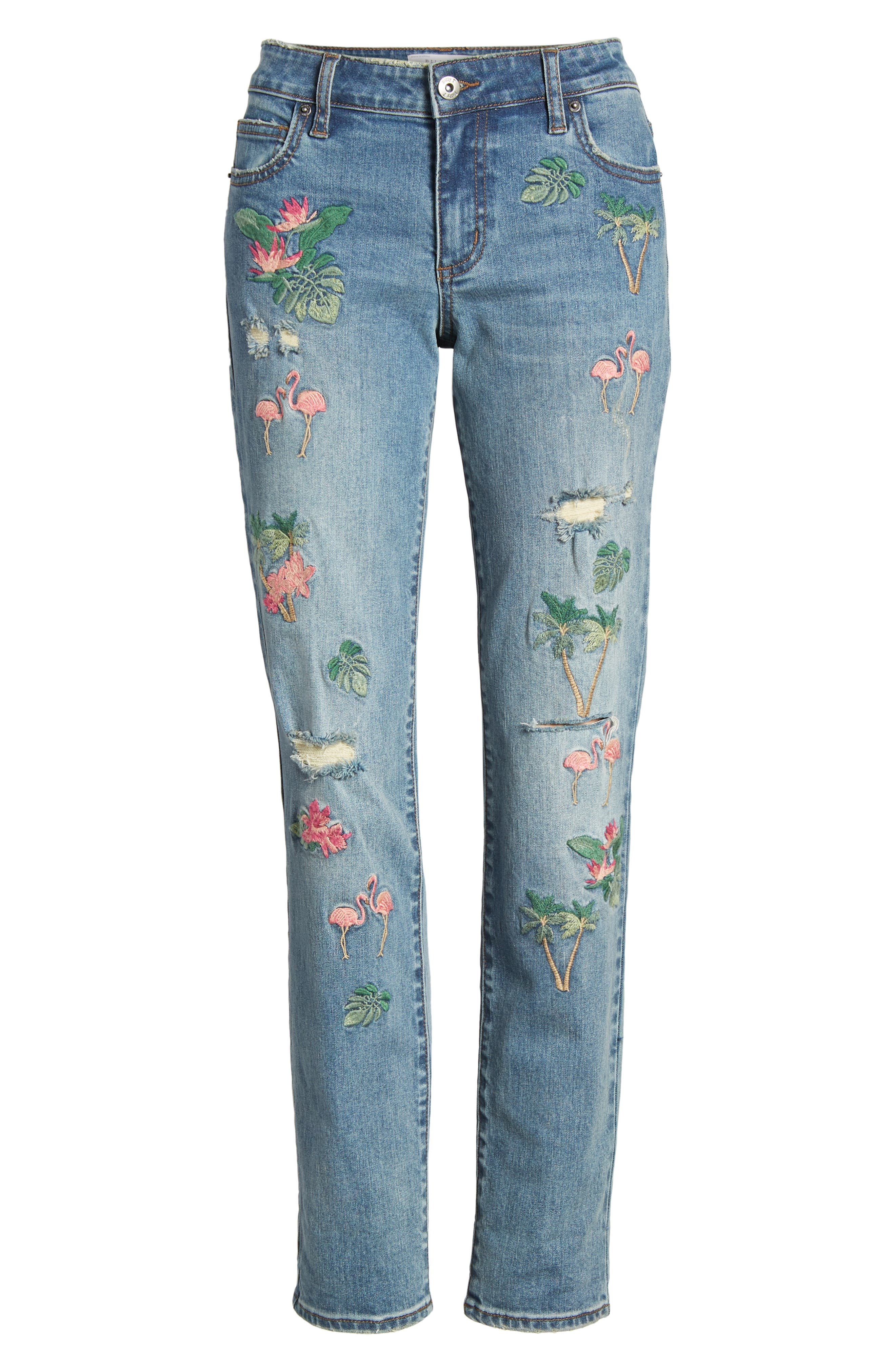 Flamingo Embroidery Jeans,                             Alternate thumbnail 7, color,                             BLUE W/ EMBROIDER