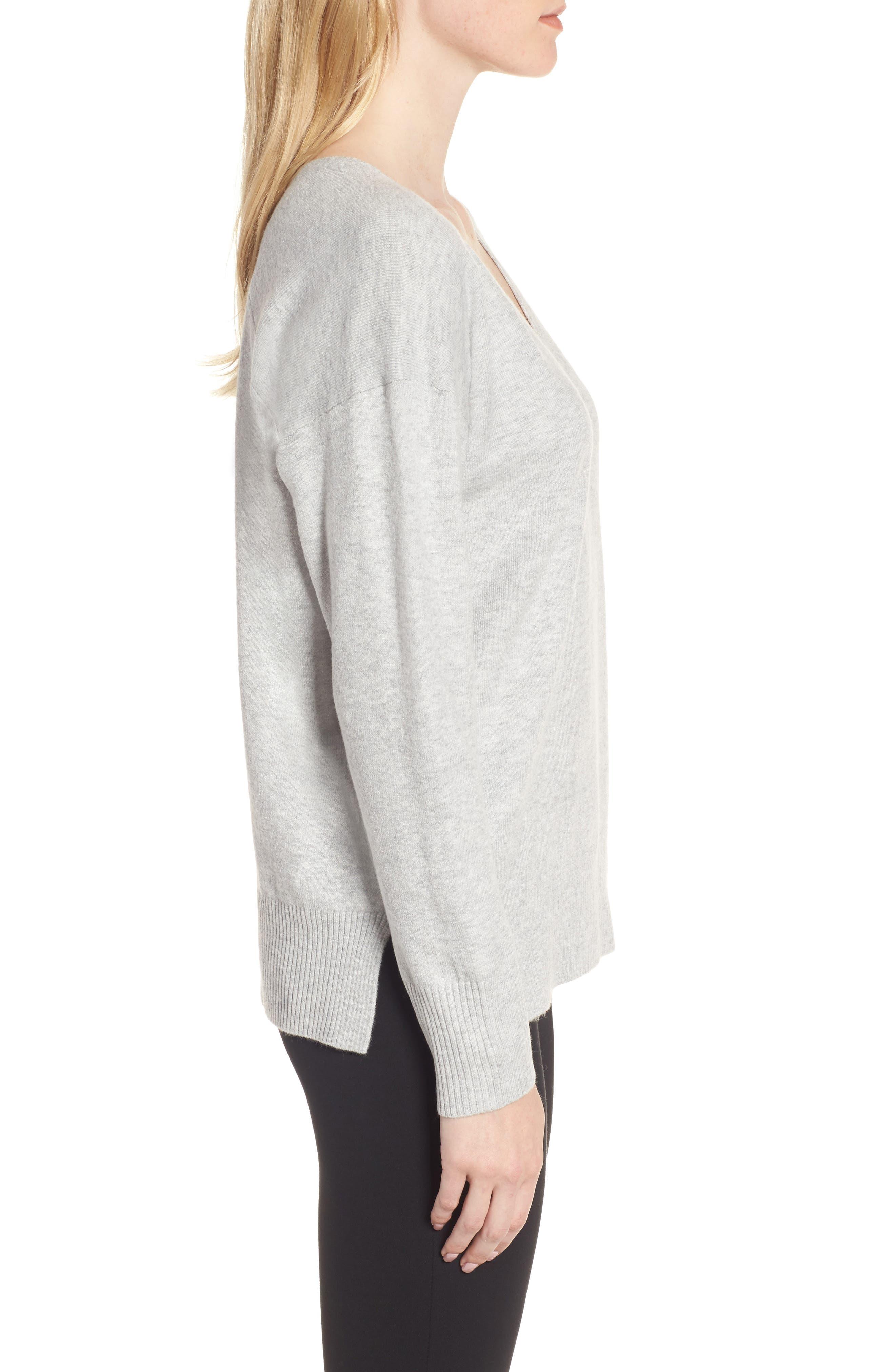 Della Vhari V-Neck Sweater,                             Alternate thumbnail 3, color,                             050