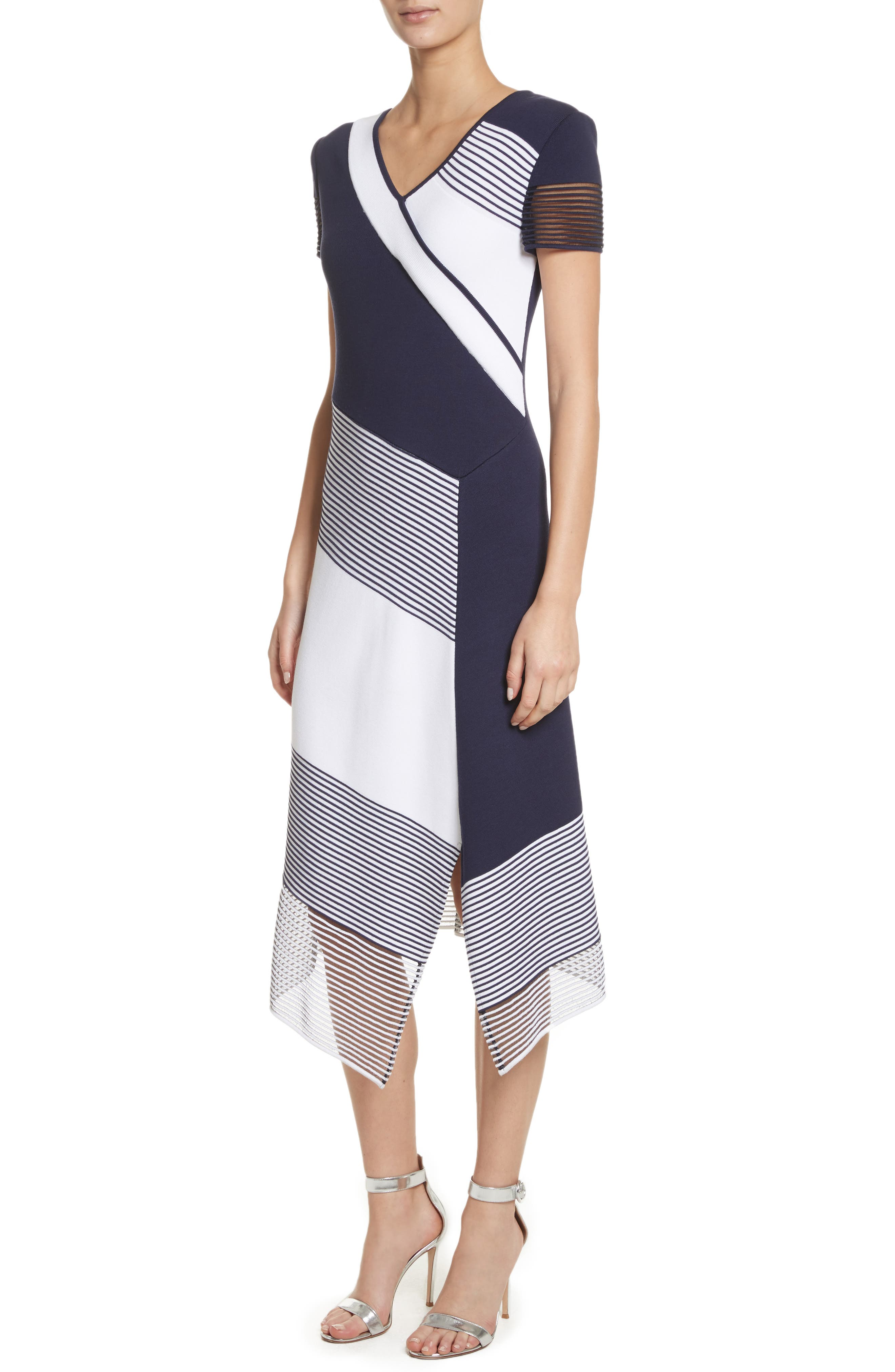 Colorblock Tech Knit Dress,                             Alternate thumbnail 4, color,                             100