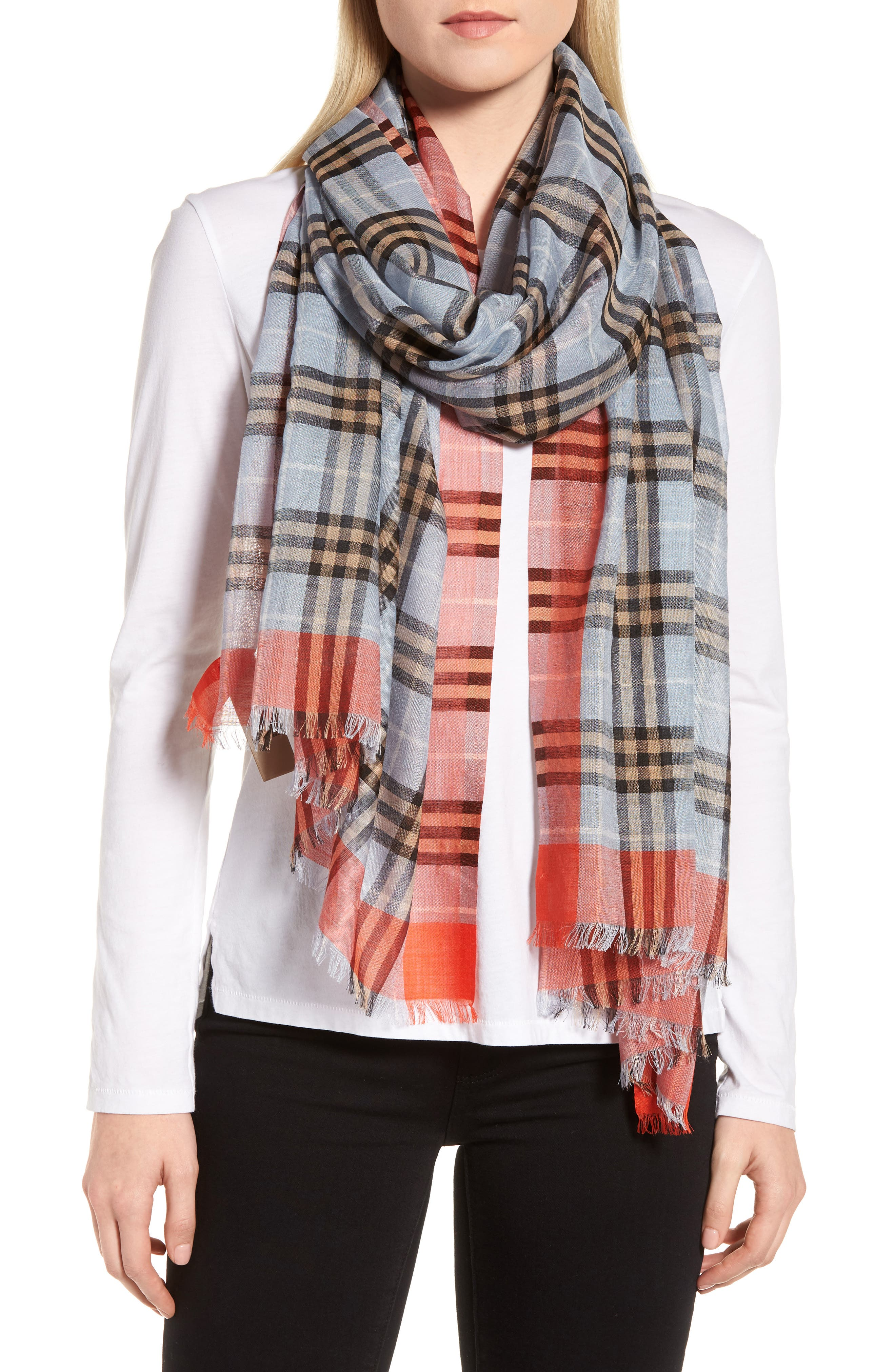 Border Vintage Check Wool & Silk Scarf,                             Alternate thumbnail 2, color,                             450