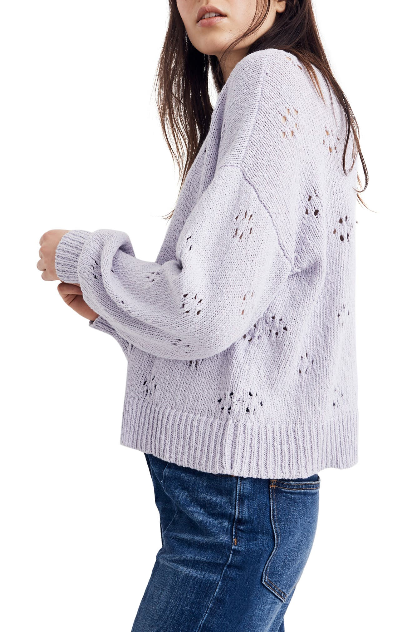 Floral Pointelle Pullover Sweater,                             Alternate thumbnail 4, color,                             SUNDRENCHED LILAC