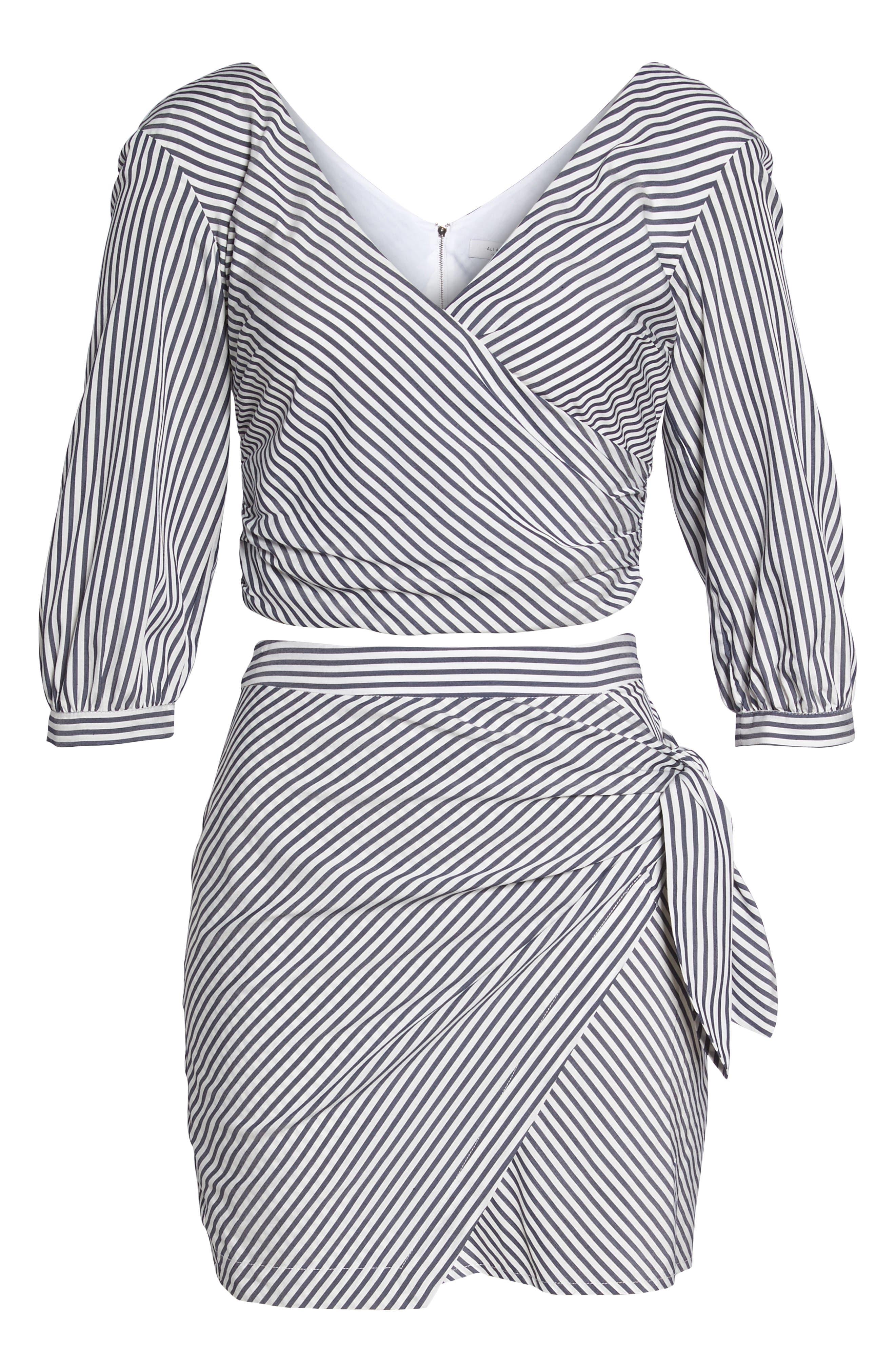 Cocktails Please Stripe Two-Piece Dress,                             Alternate thumbnail 6, color,                             100
