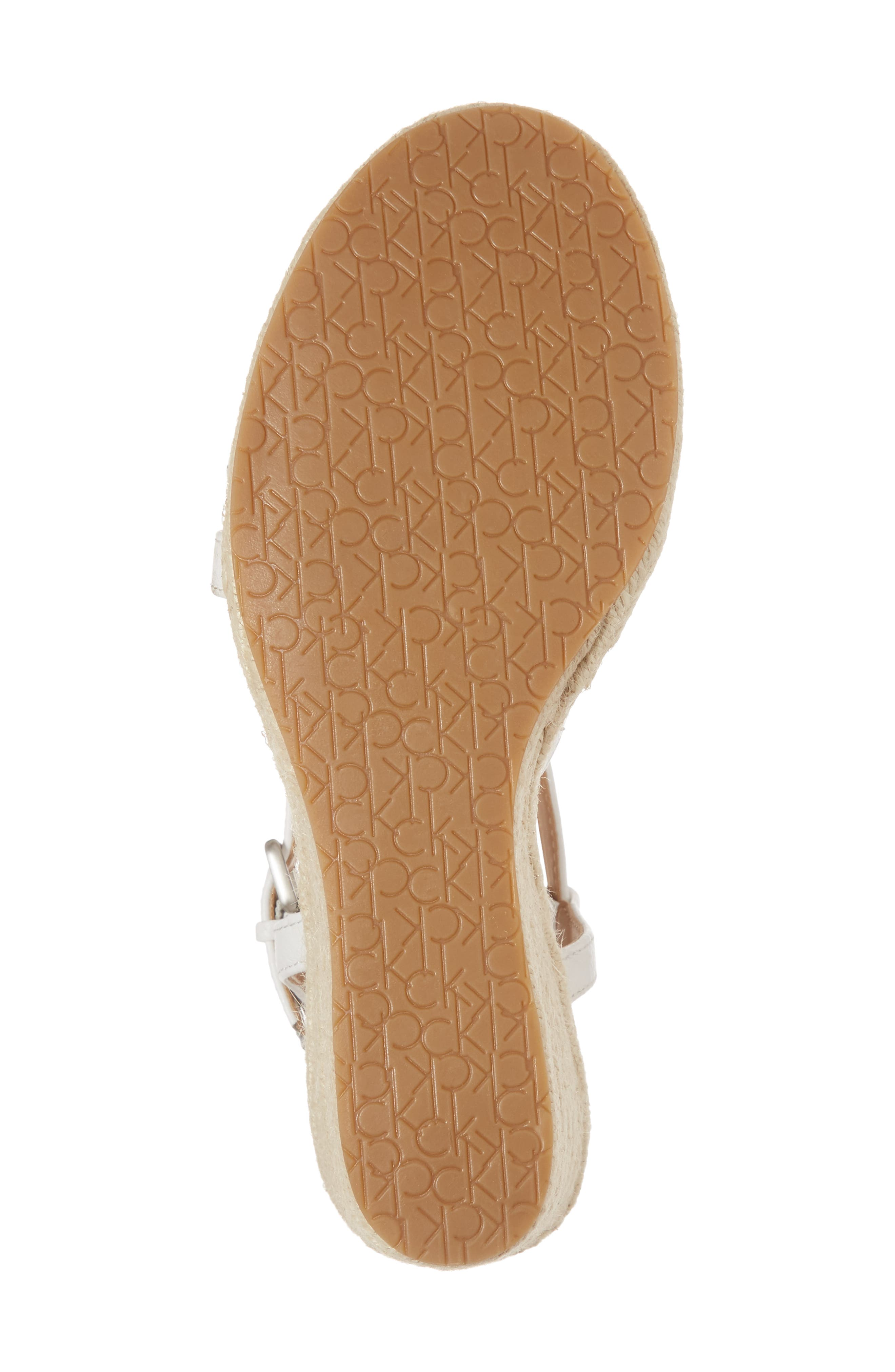 Bellemine Espadrille Wedge Sandal,                             Alternate thumbnail 6, color,                             PLATINUM WHITE PEBBLE LEATHER