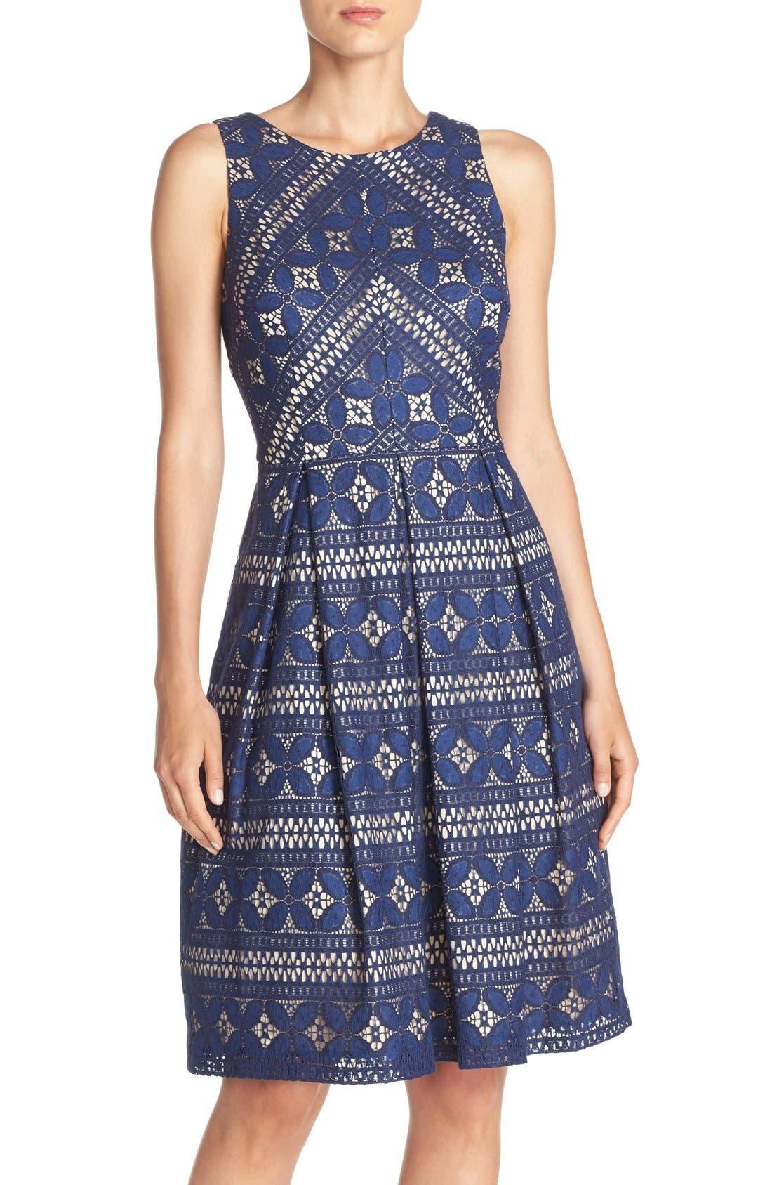 Lace Fit & Flare Dress,                             Main thumbnail 1, color,                             422