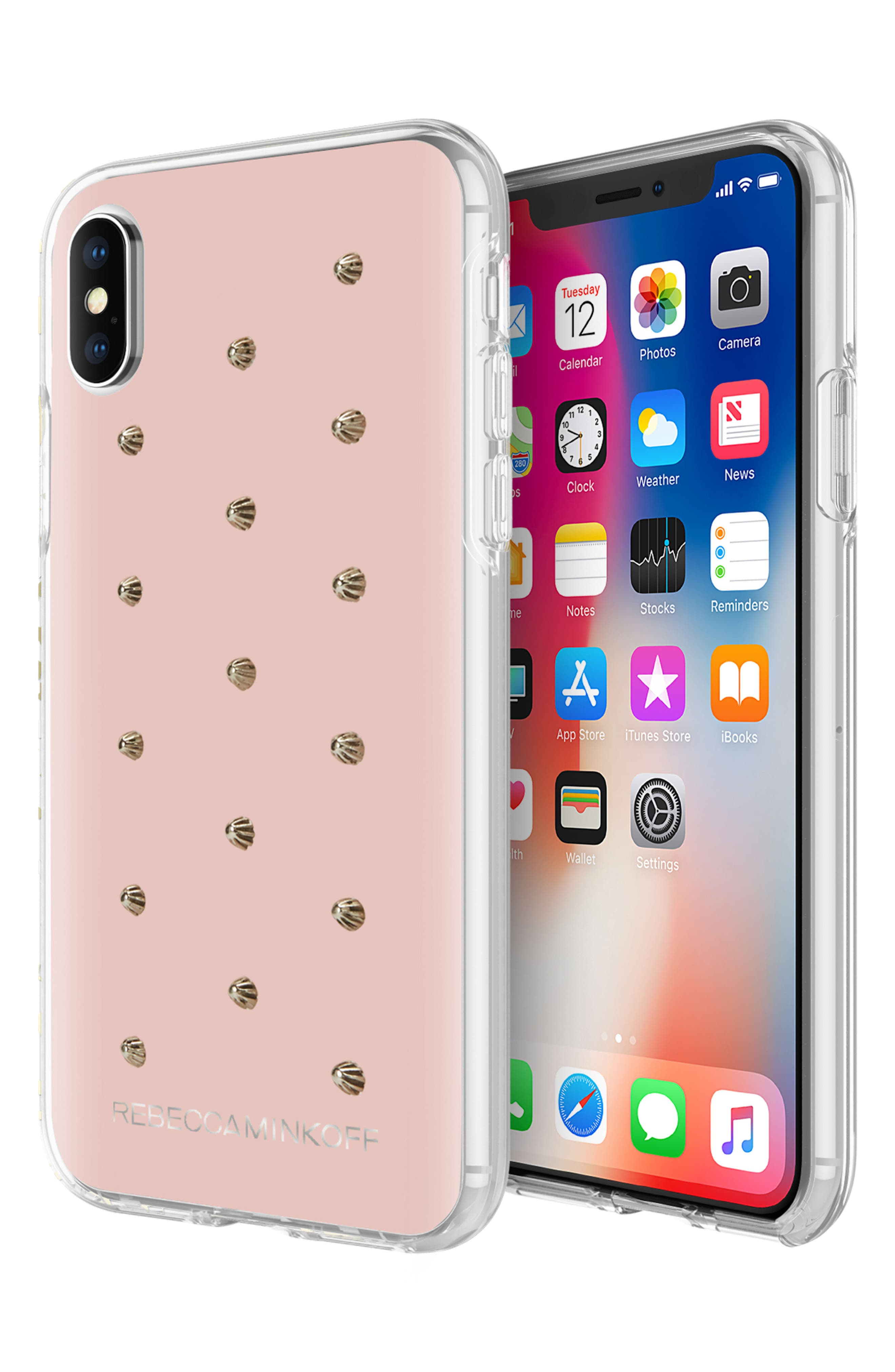 Flower Stud iPhone X/Xs Case,                             Alternate thumbnail 4, color,                             ROSE GOLD/ GOLD STUDS