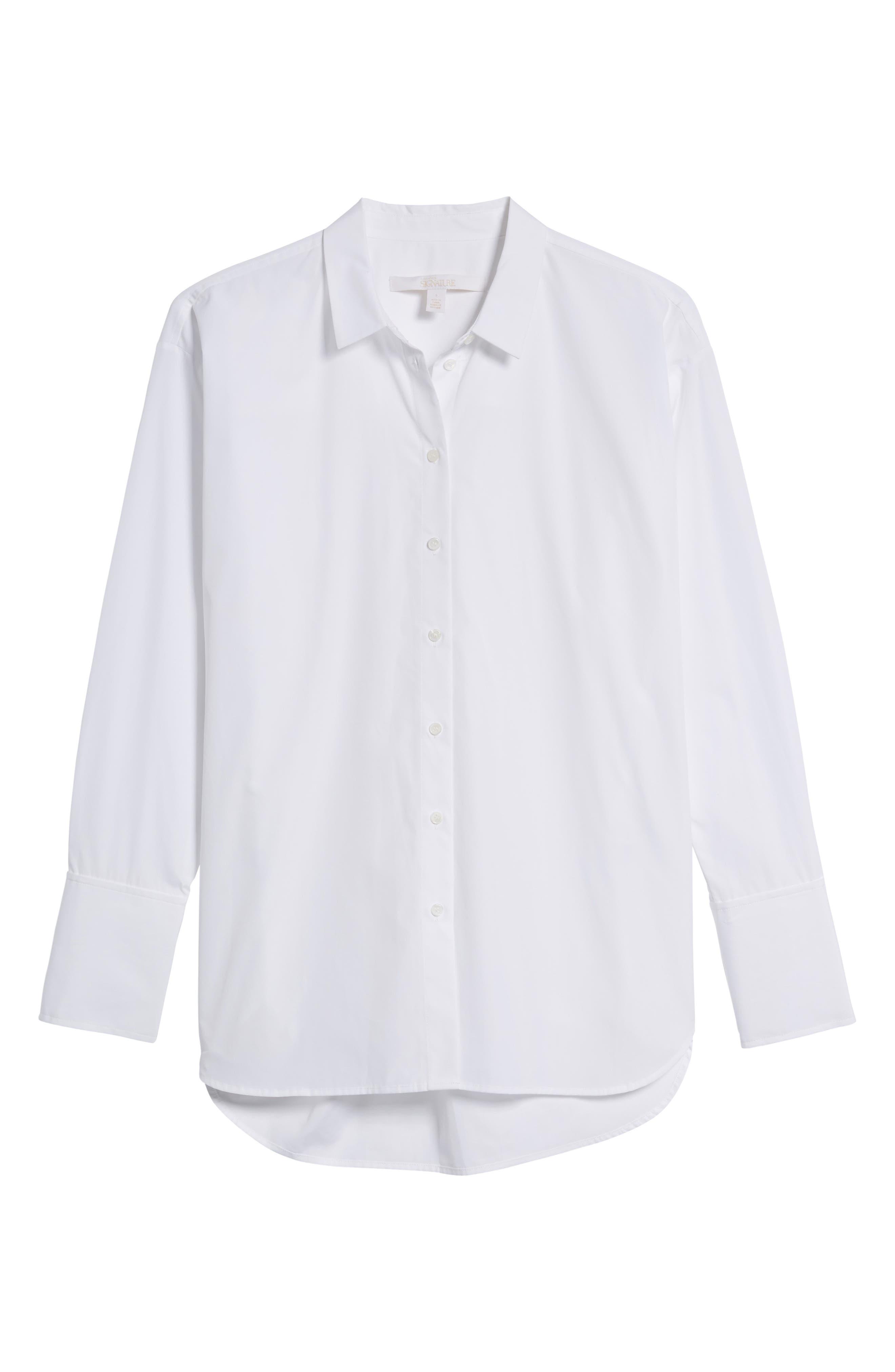 Poplin Shirt,                             Alternate thumbnail 6, color,                             WHITE