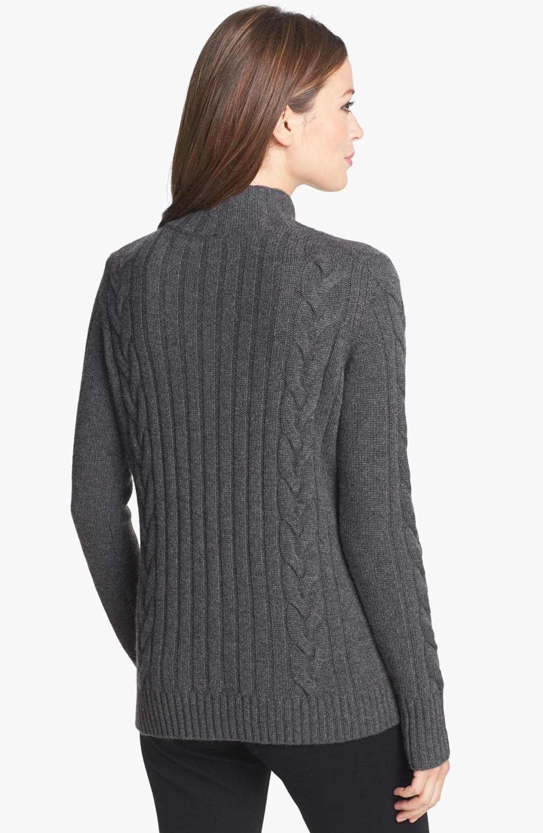 Chunky Cable Cashmere Cardigan,                             Alternate thumbnail 2, color,                             020