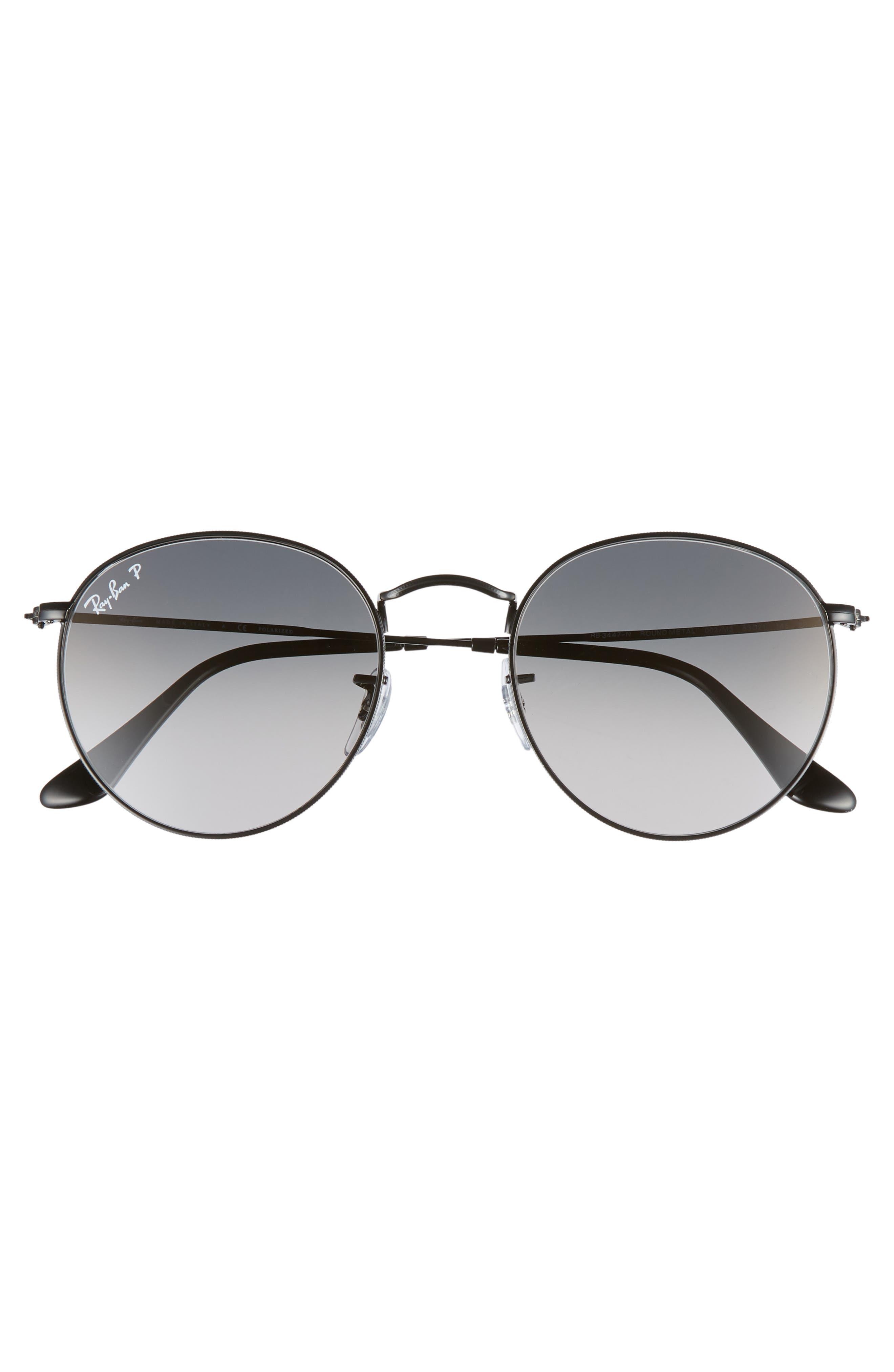 53mm Polarized Round Sunglasses,                             Alternate thumbnail 2, color,                             BLACK / GREY