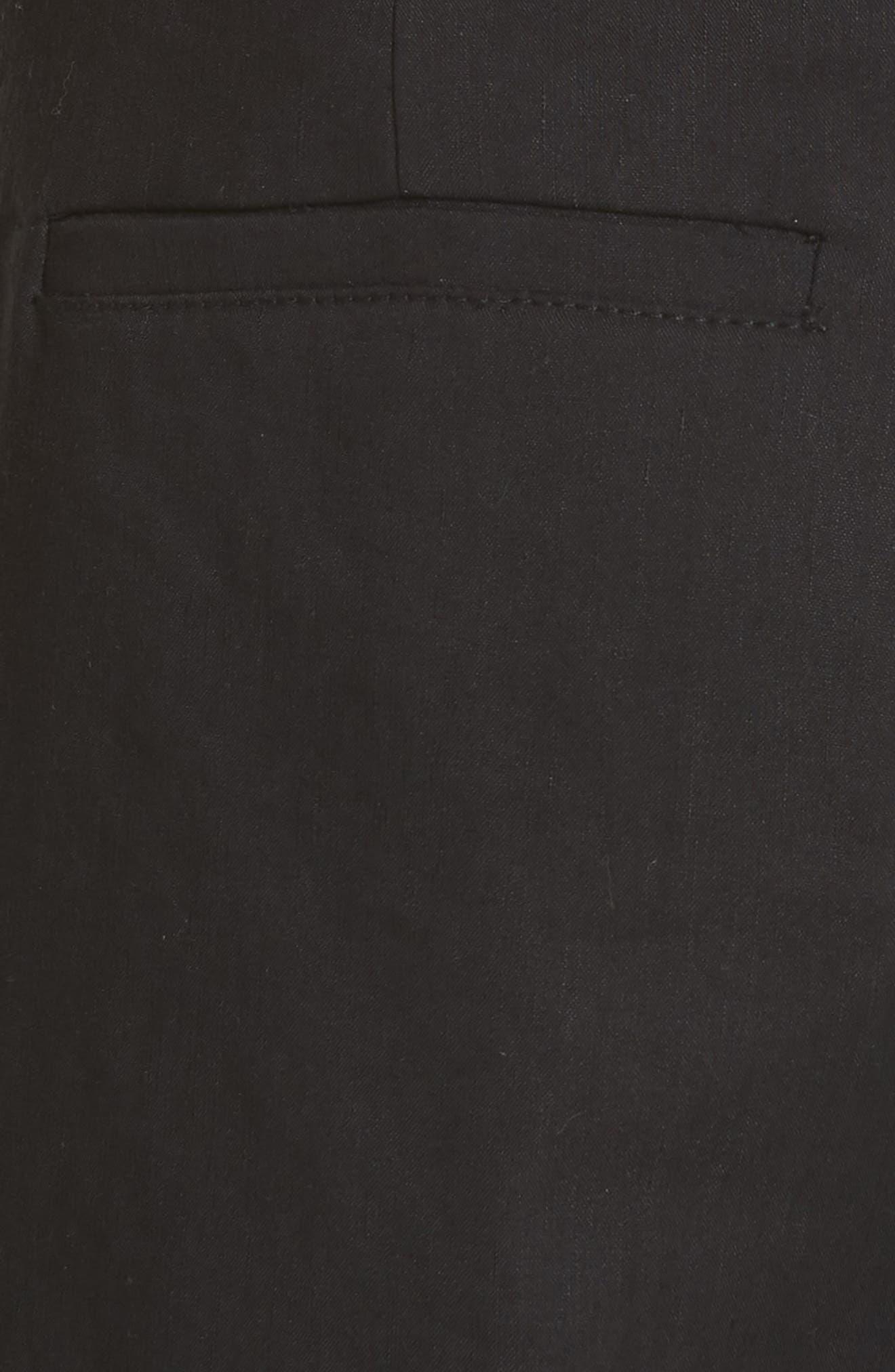 High Rise Linen Blend Culottes,                             Alternate thumbnail 5, color,                             001