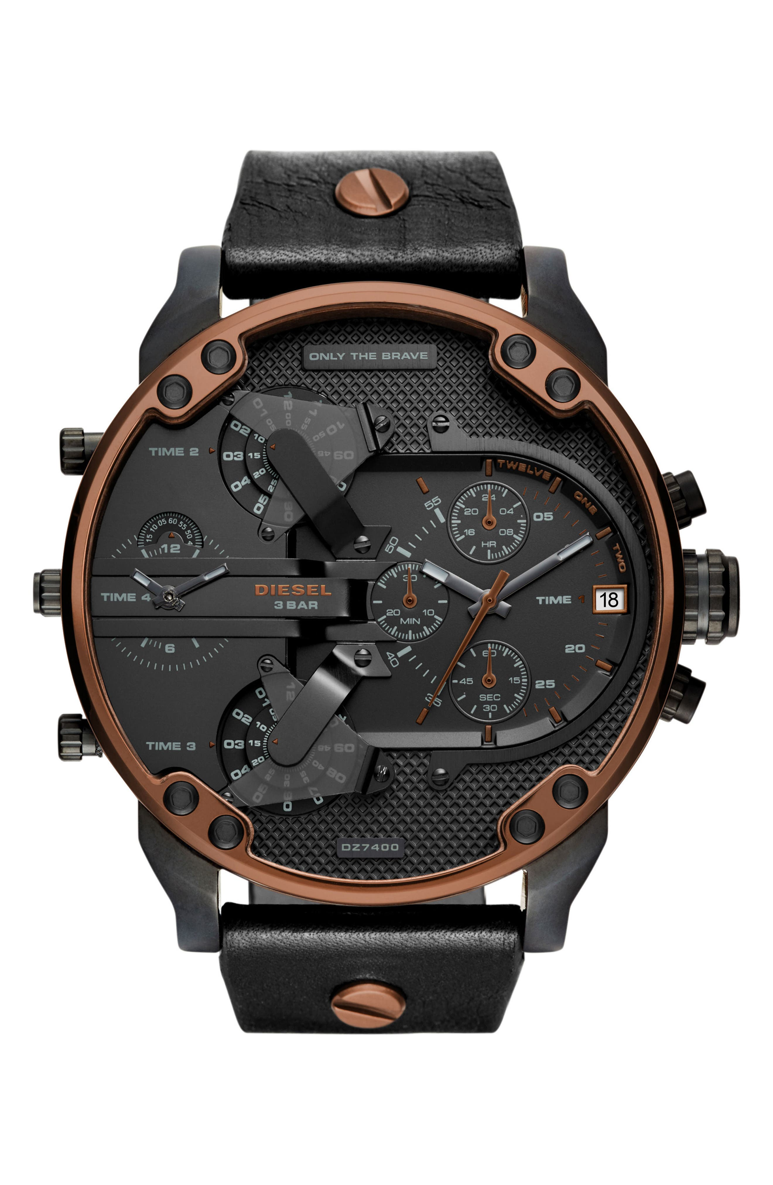 DIESEL<SUP>®</SUP> Mr. Daddy 2.0 Chronograph Leather Strap Watch, 57mm, Main, color, 001