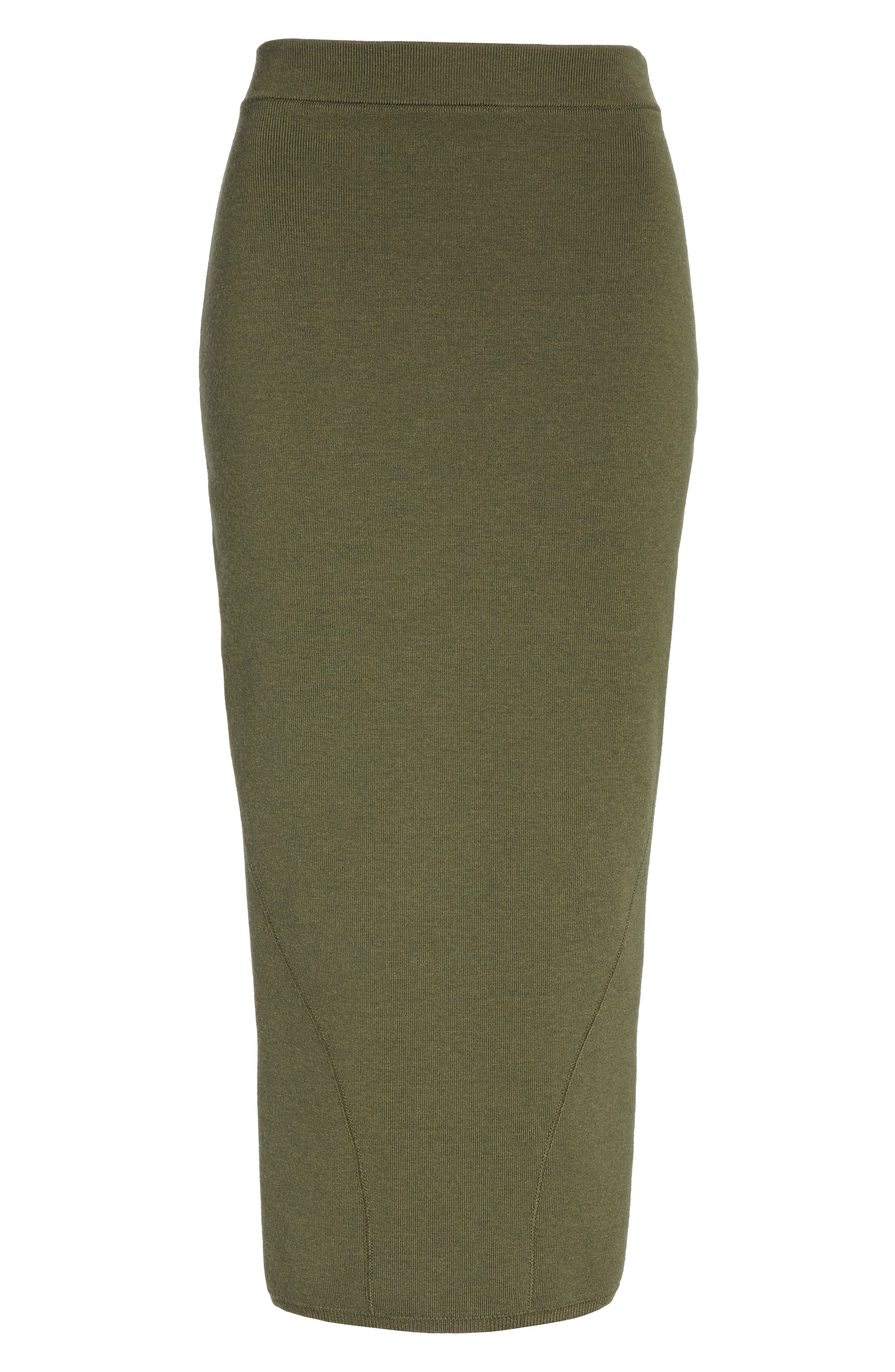 Fitted Knit Skirt,                             Alternate thumbnail 6, color,                             GREEN