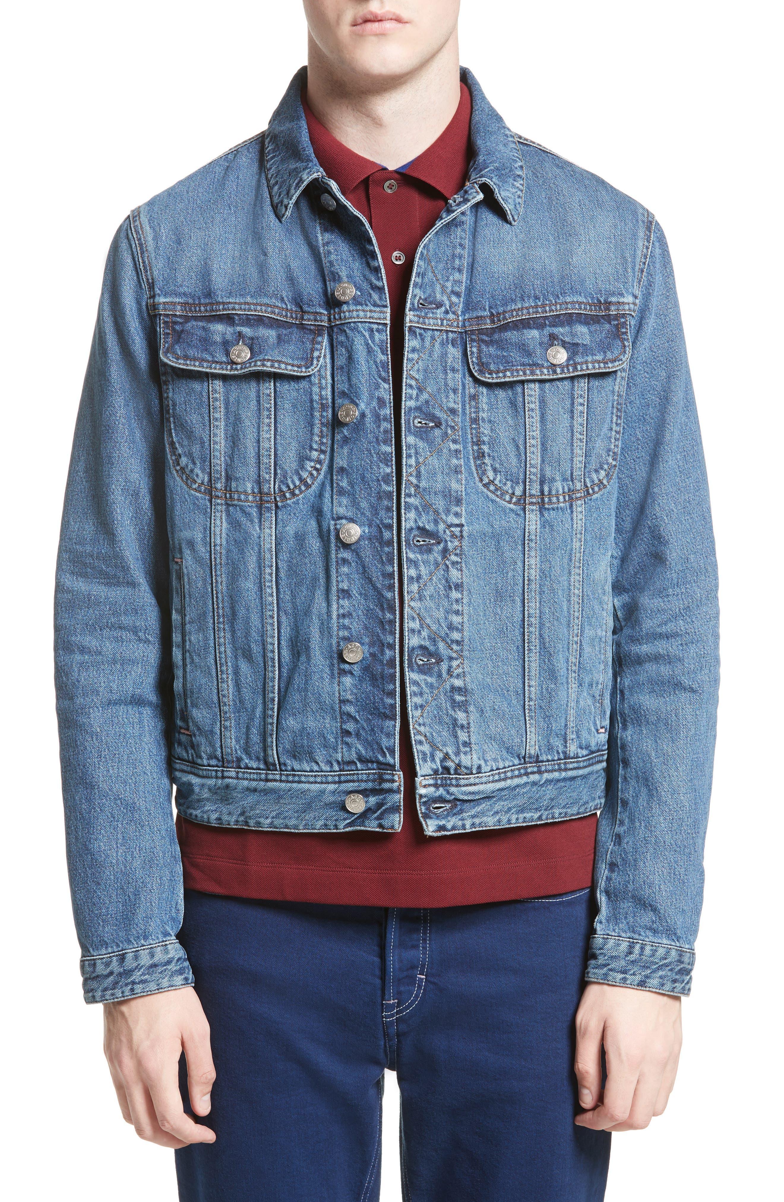 Tent Denim Jacket,                         Main,                         color, MID BLUE