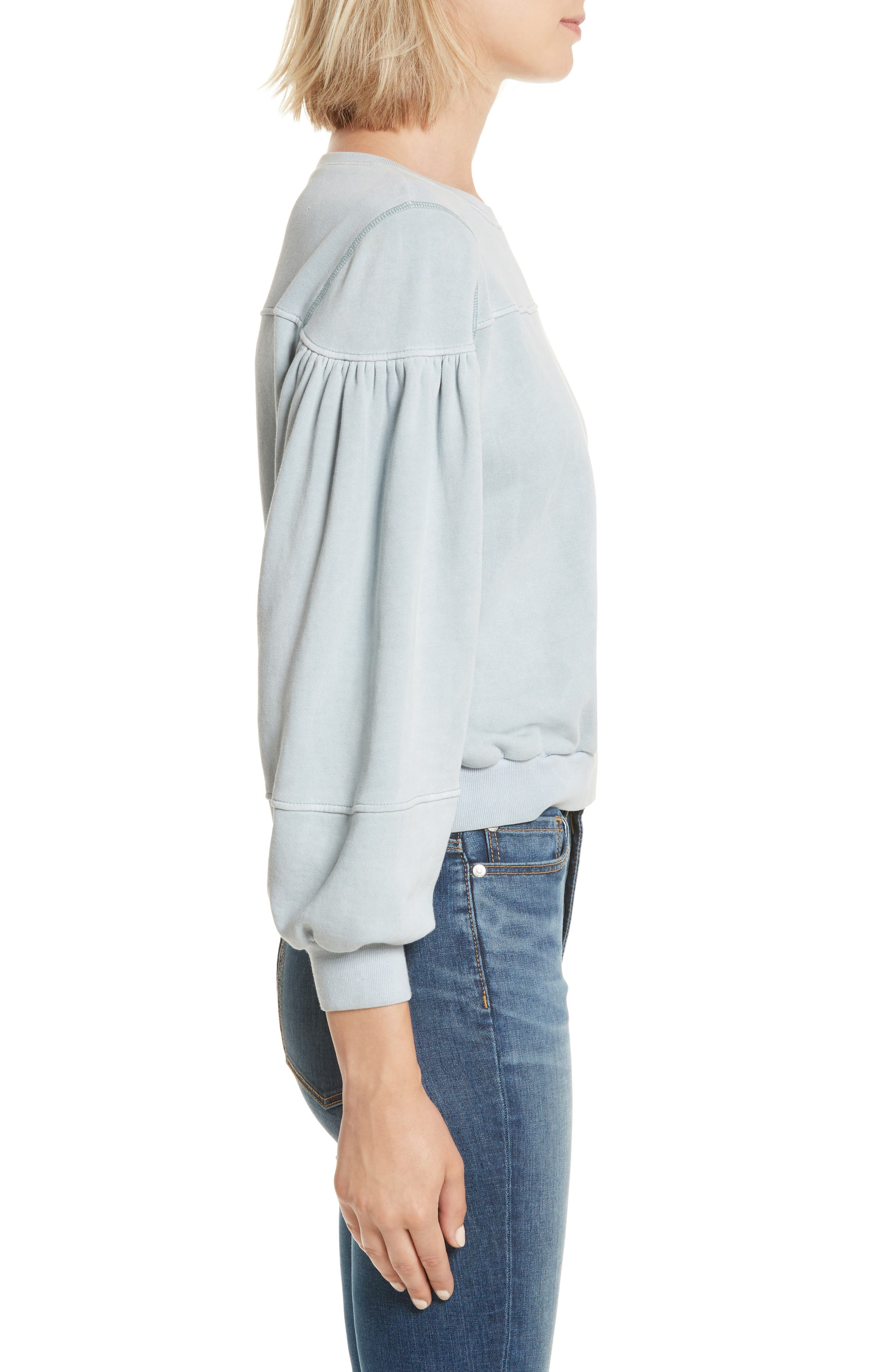 Balloon Sleeve Fleece Pullover,                             Alternate thumbnail 3, color,