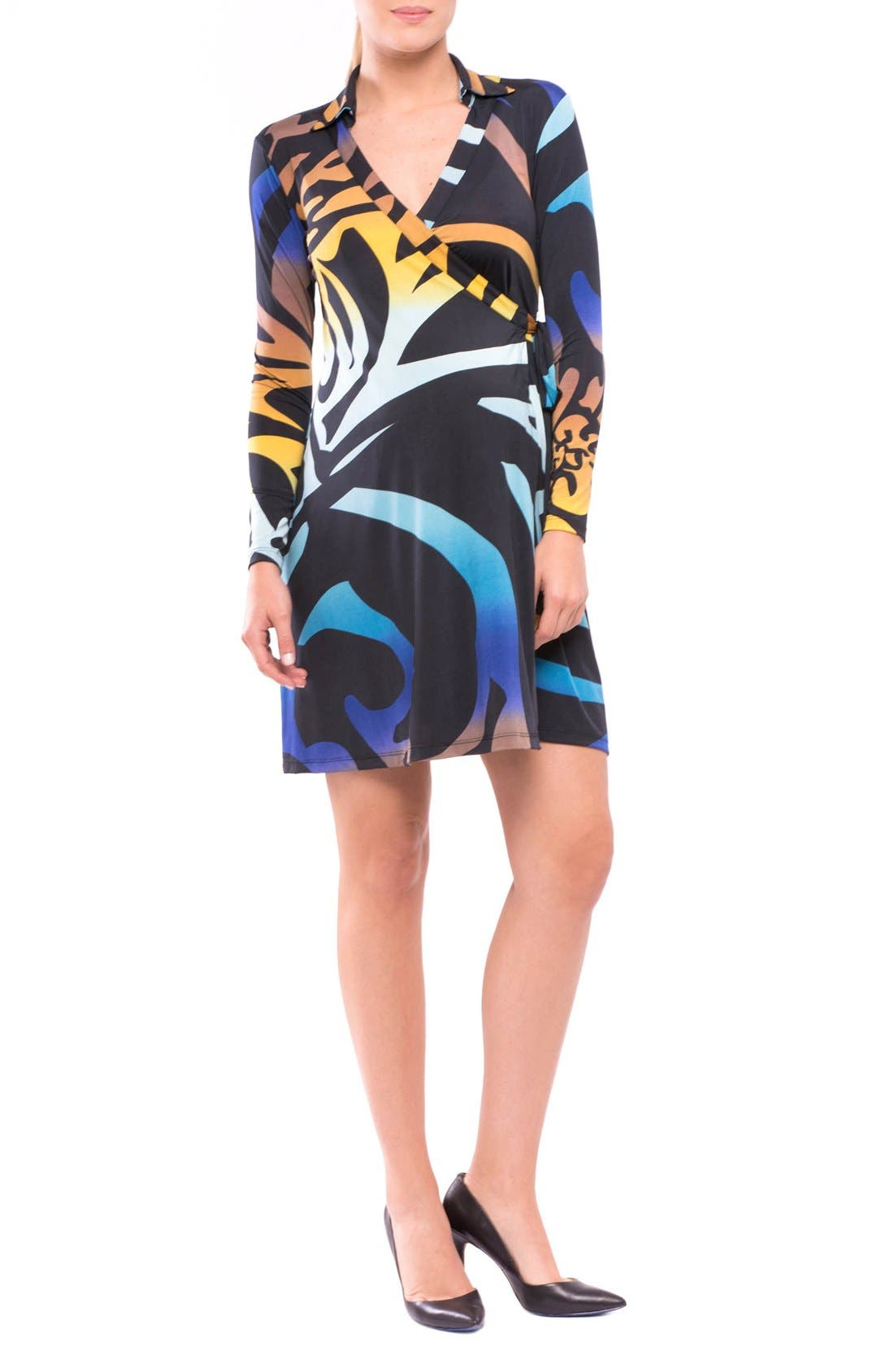 Lorraine Wrap Maternity Dress,                             Main thumbnail 1, color,                             BLUE/ YELLOW PRINT