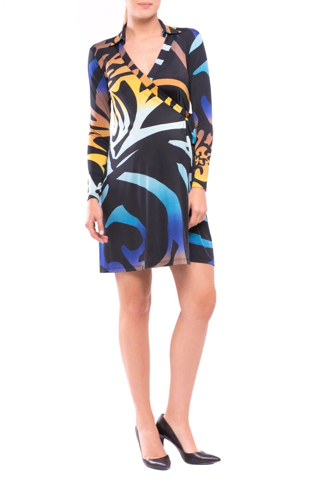 Lorraine Wrap Maternity Dress,                         Main,                         color, BLUE/ YELLOW PRINT