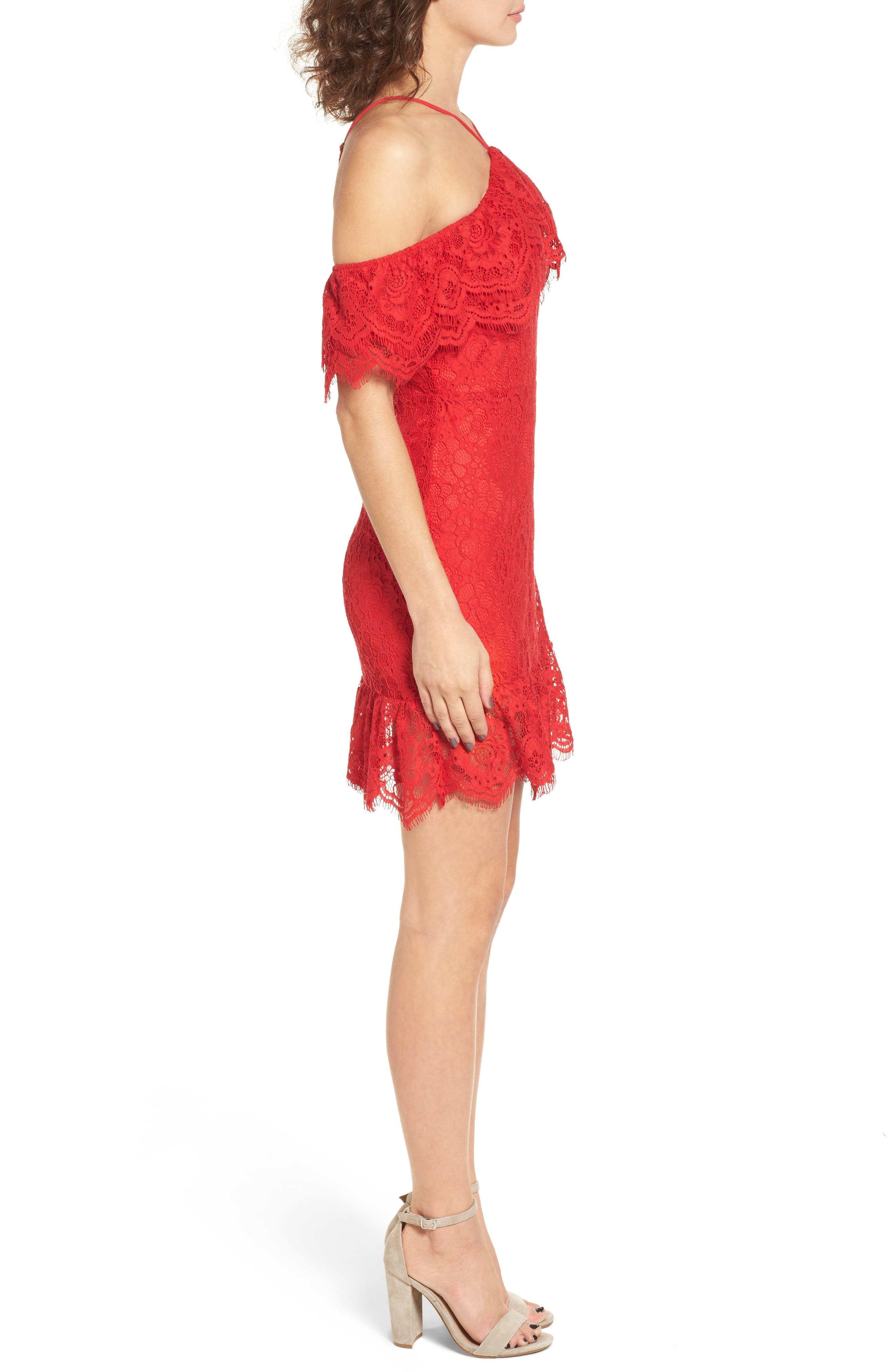 L'Amour Ruffle Halter Dress,                             Alternate thumbnail 3, color,                             600