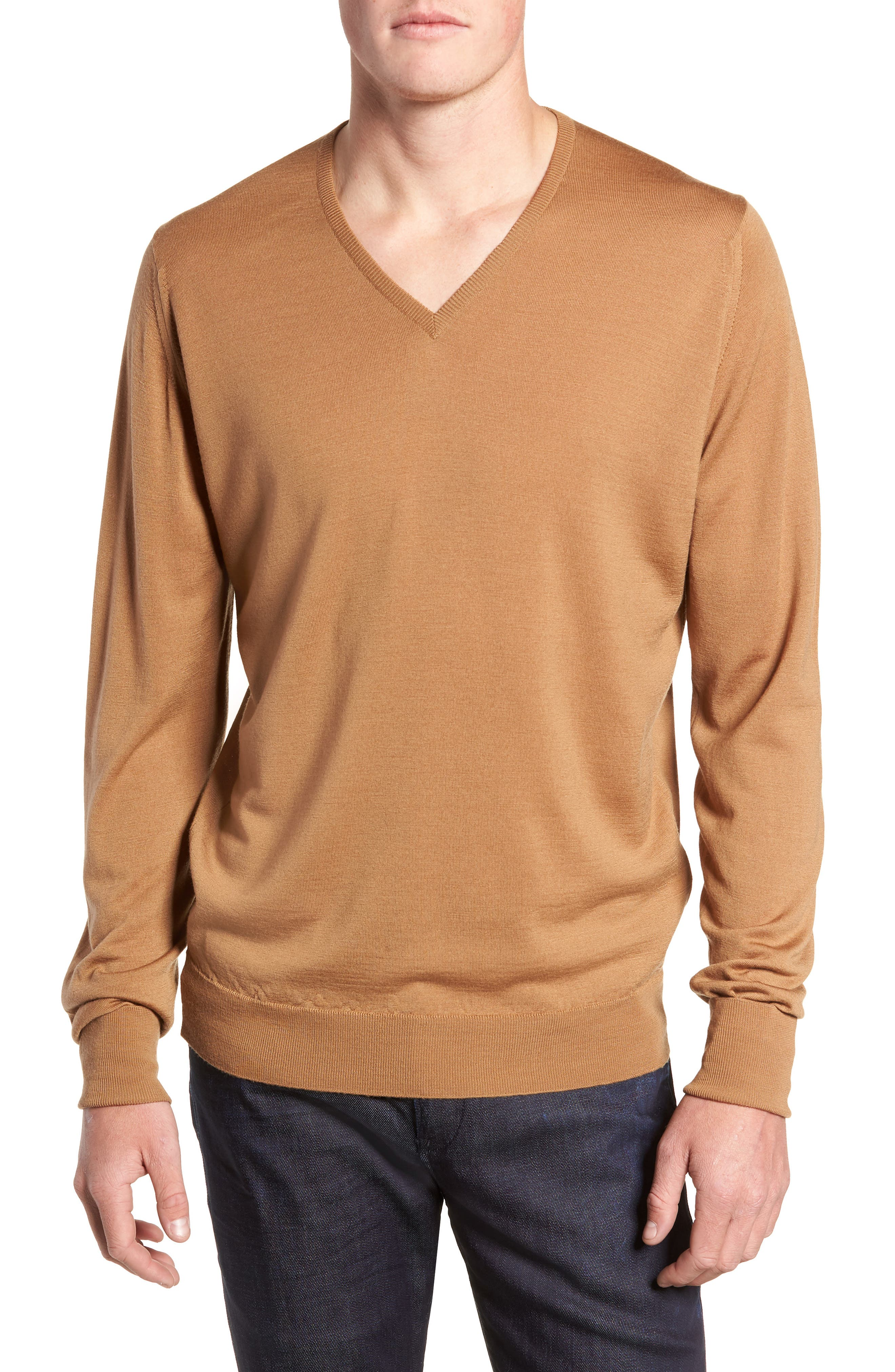'Bobby' Easy Fit V Neck Wool Sweater,                             Main thumbnail 1, color,                             251