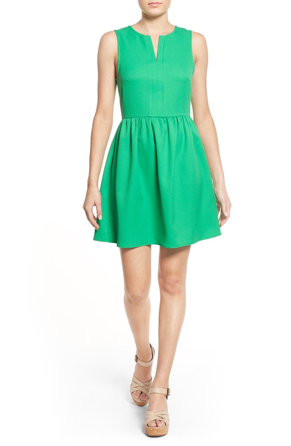 'Rowan' V-Neck Skater Dress,                             Main thumbnail 4, color,