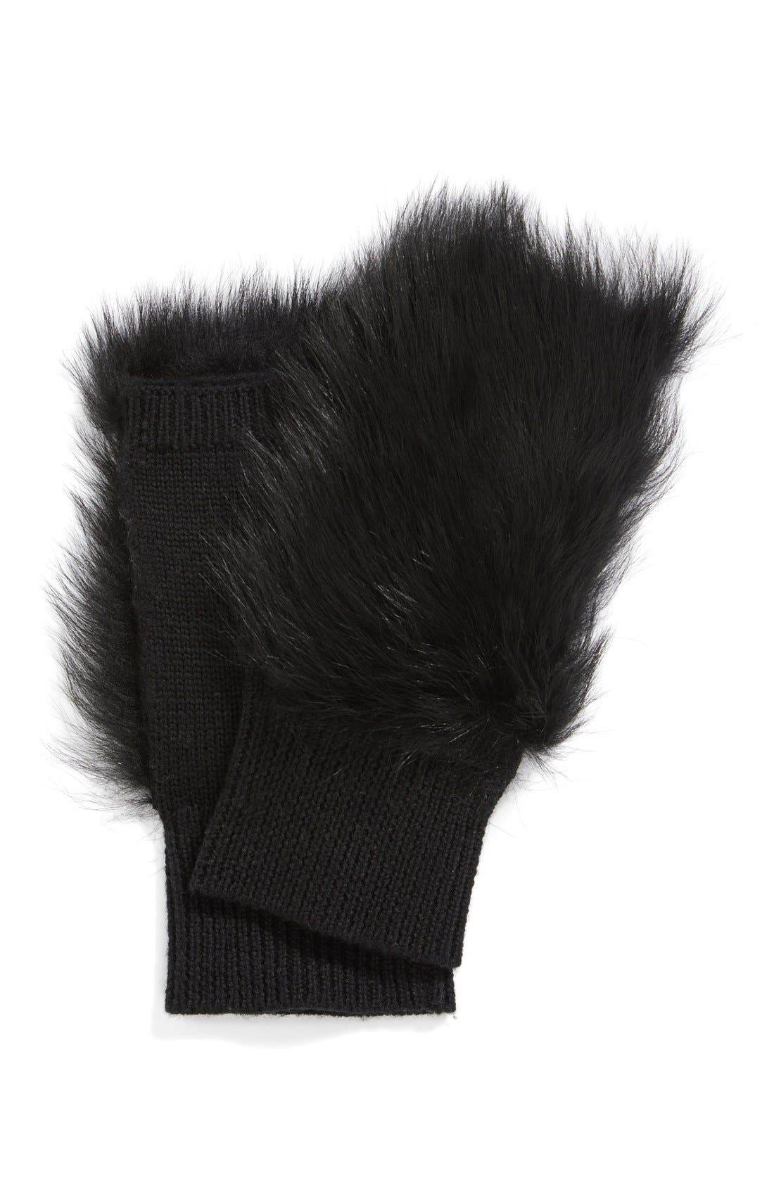 'Mindy' Merino Wool & Genuine Shearling Fingerless Mittens,                             Alternate thumbnail 3, color,                             001